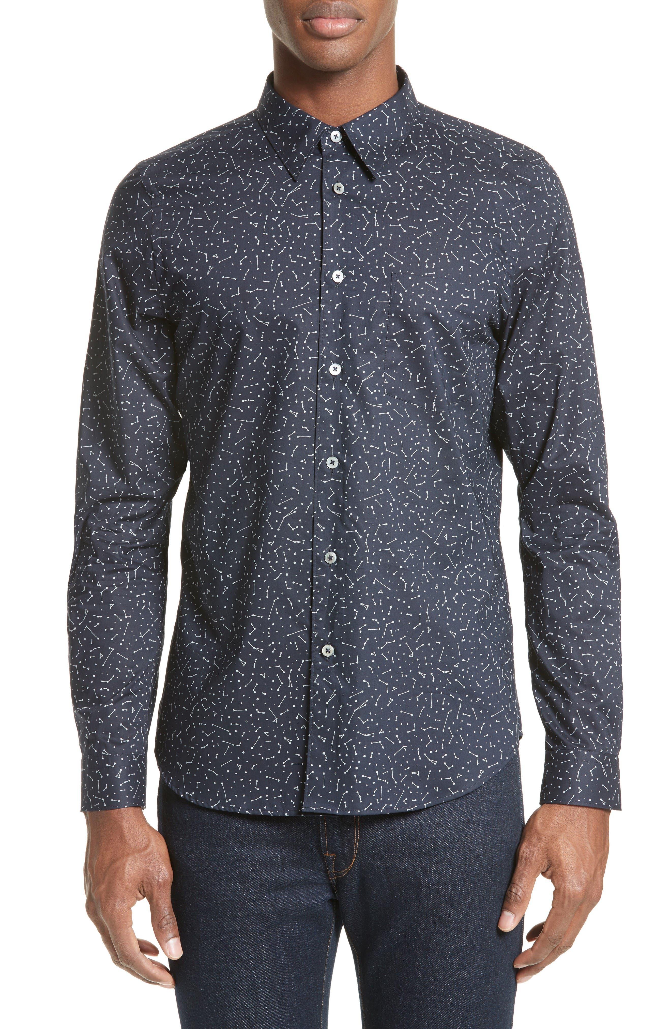 Extra Trim Fit Constellation Print Sport Shirt,                         Main,                         color, Navy