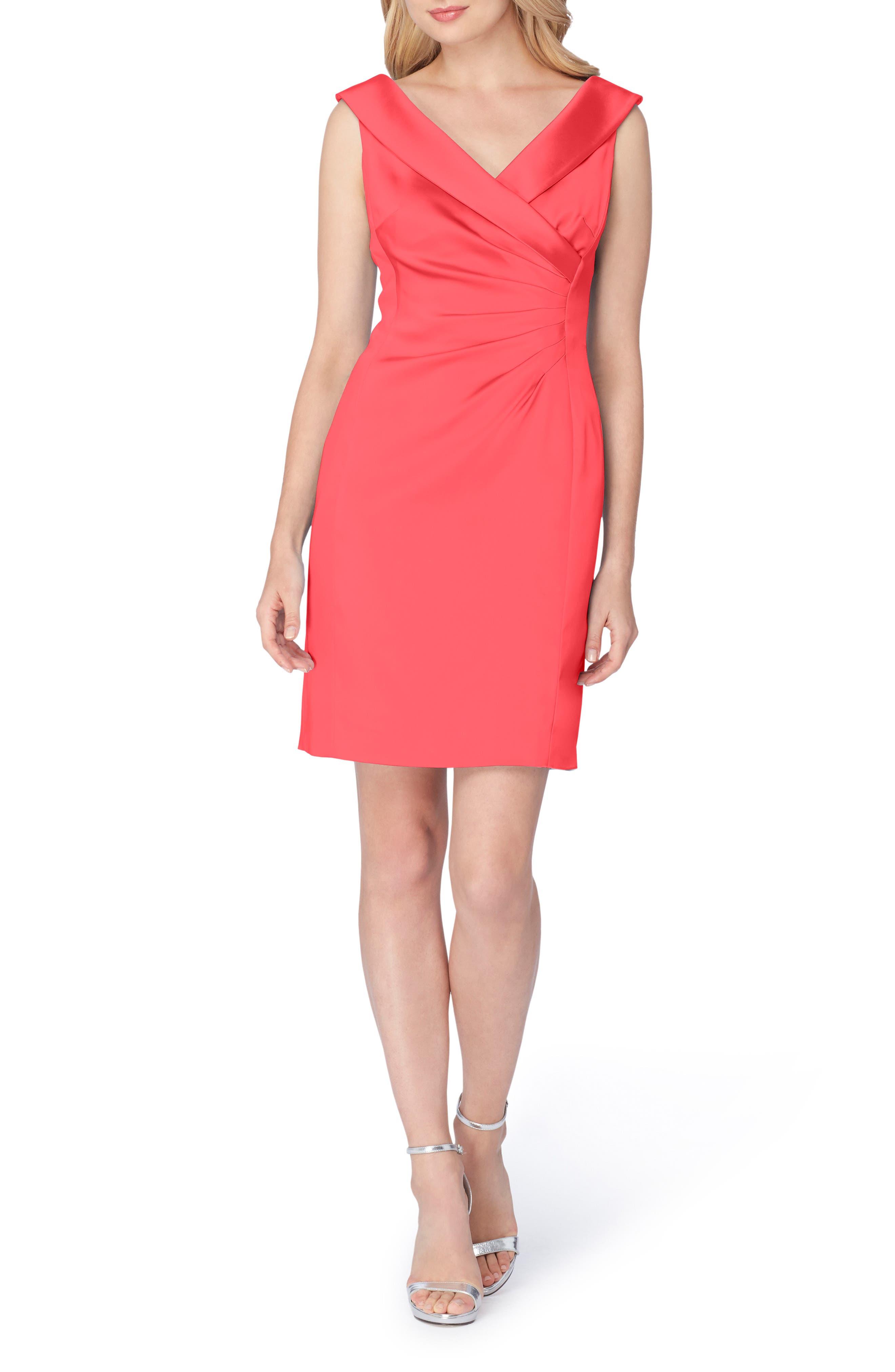 Satin Sheath Dress,                         Main,                         color, Geranium