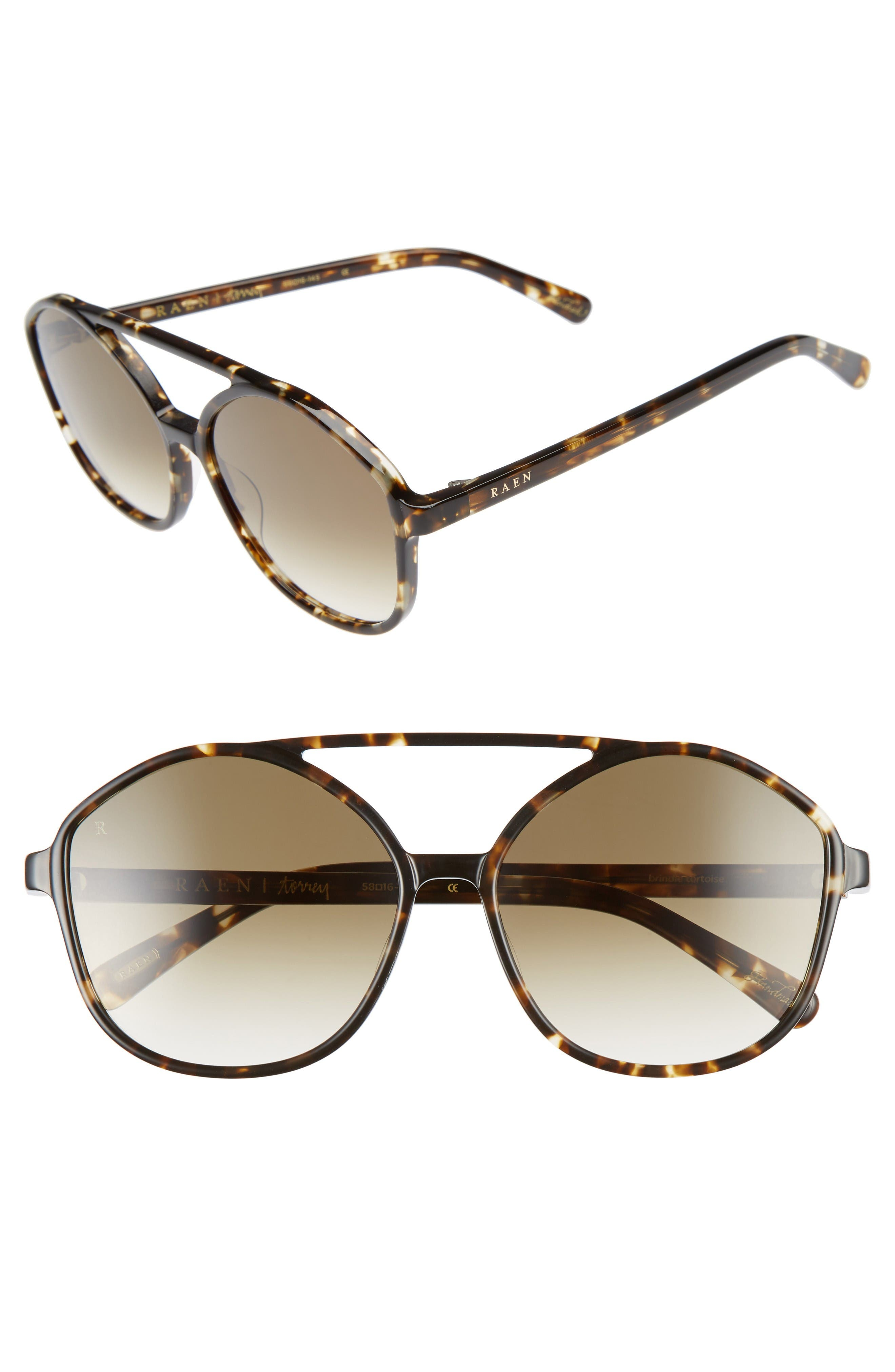 Torrey 58mm Aviator Sunglasses,                             Main thumbnail 1, color,                             Brindle Tortoise