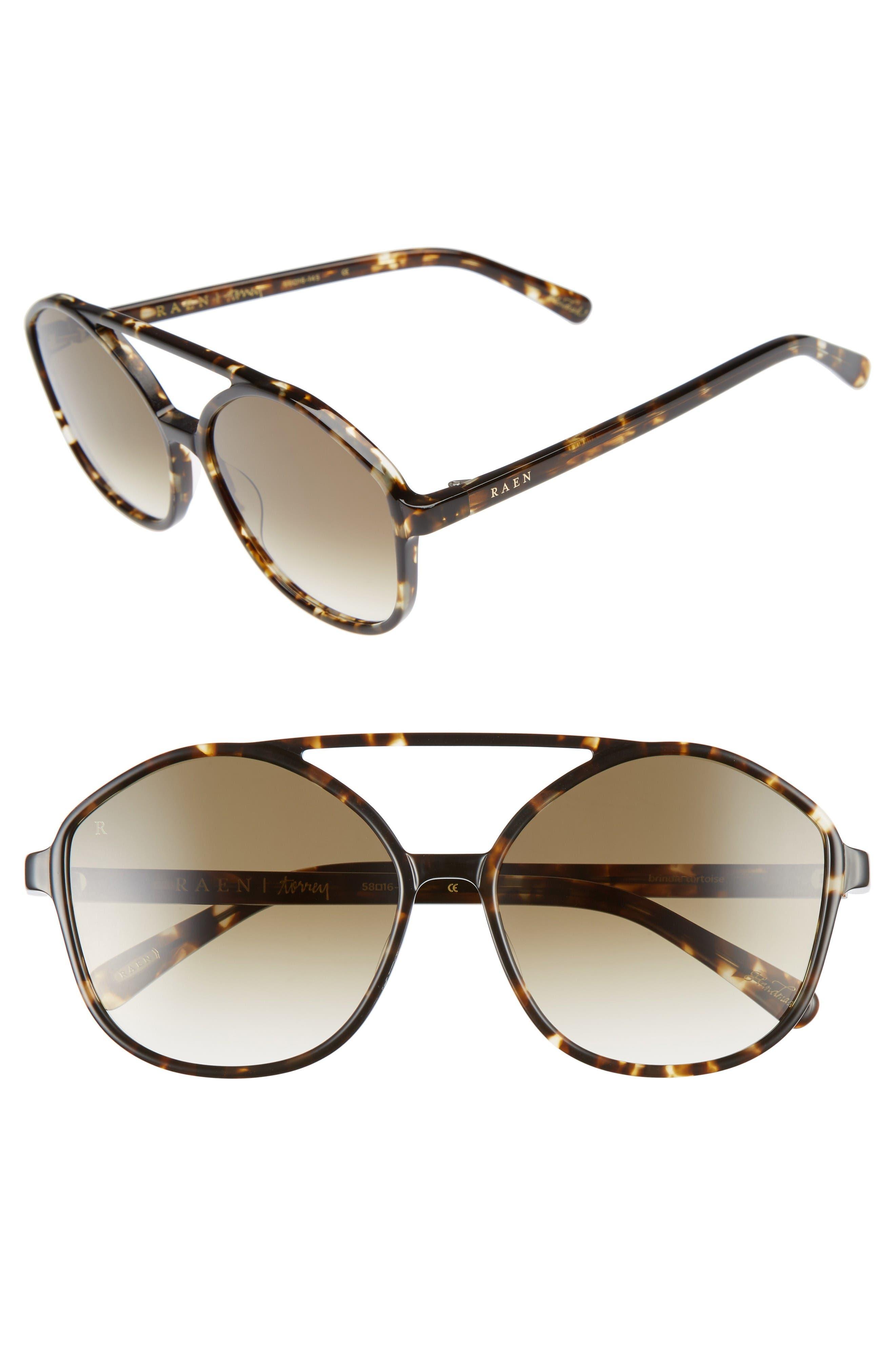 Torrey 58mm Aviator Sunglasses,                         Main,                         color, Brindle Tortoise