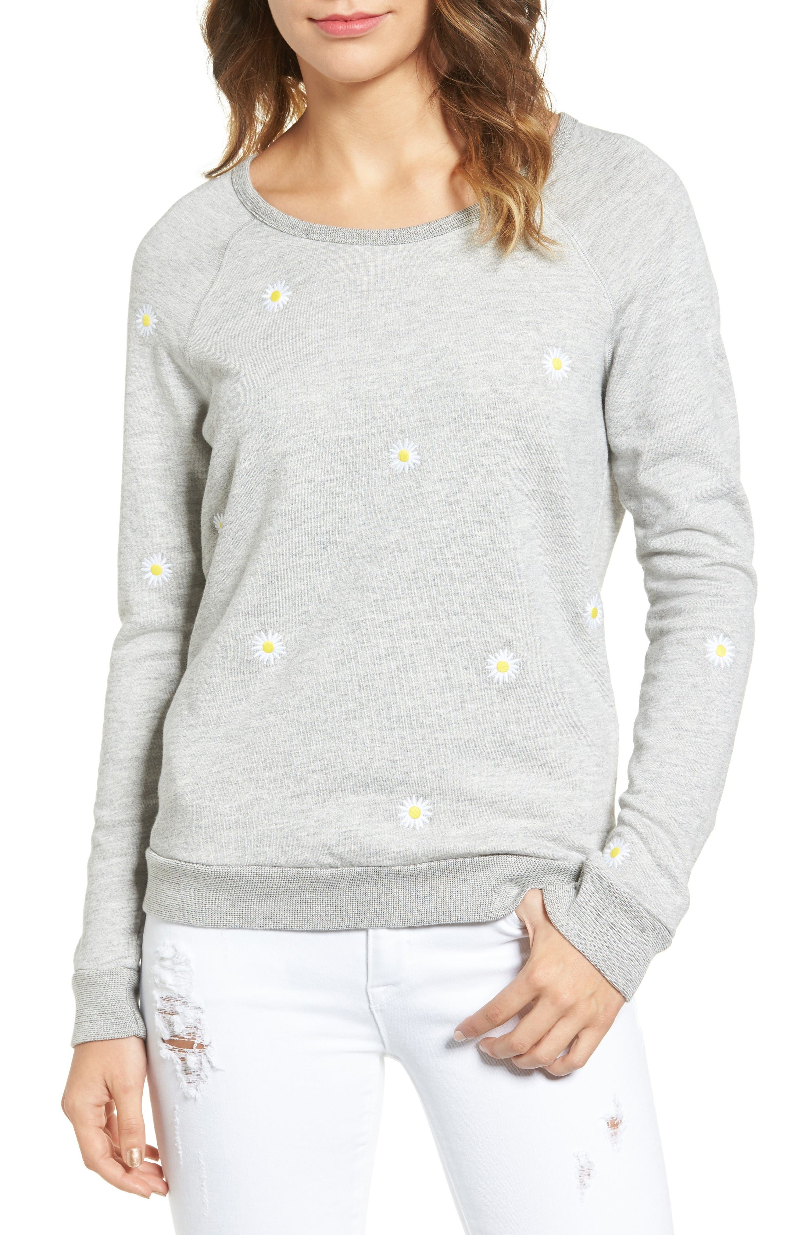 Sundry Daisies Embroidered Sweatshirt