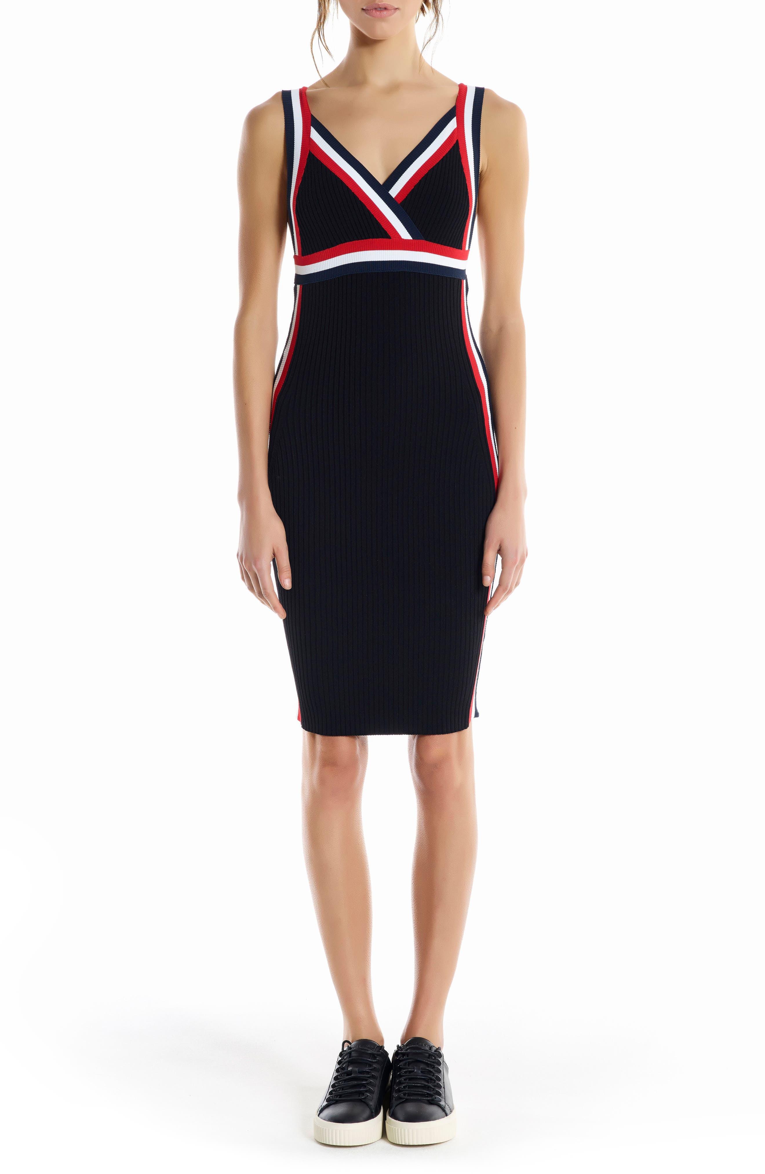 Rainbow Trim Midi Dress,                             Main thumbnail 1, color,                             Black Multi