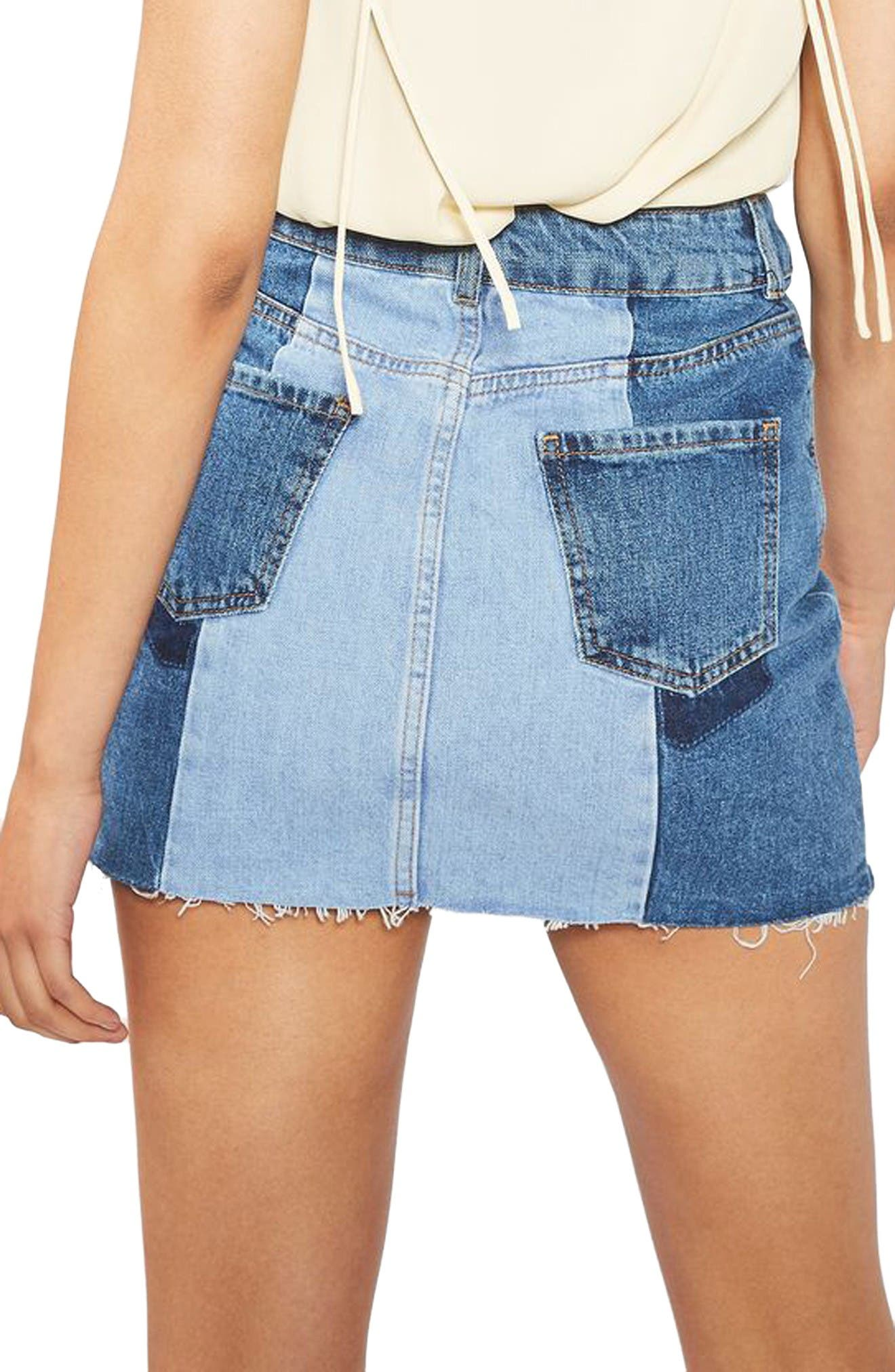Alternate Image 3  - Topshop Colorblock Denim Miniskirt