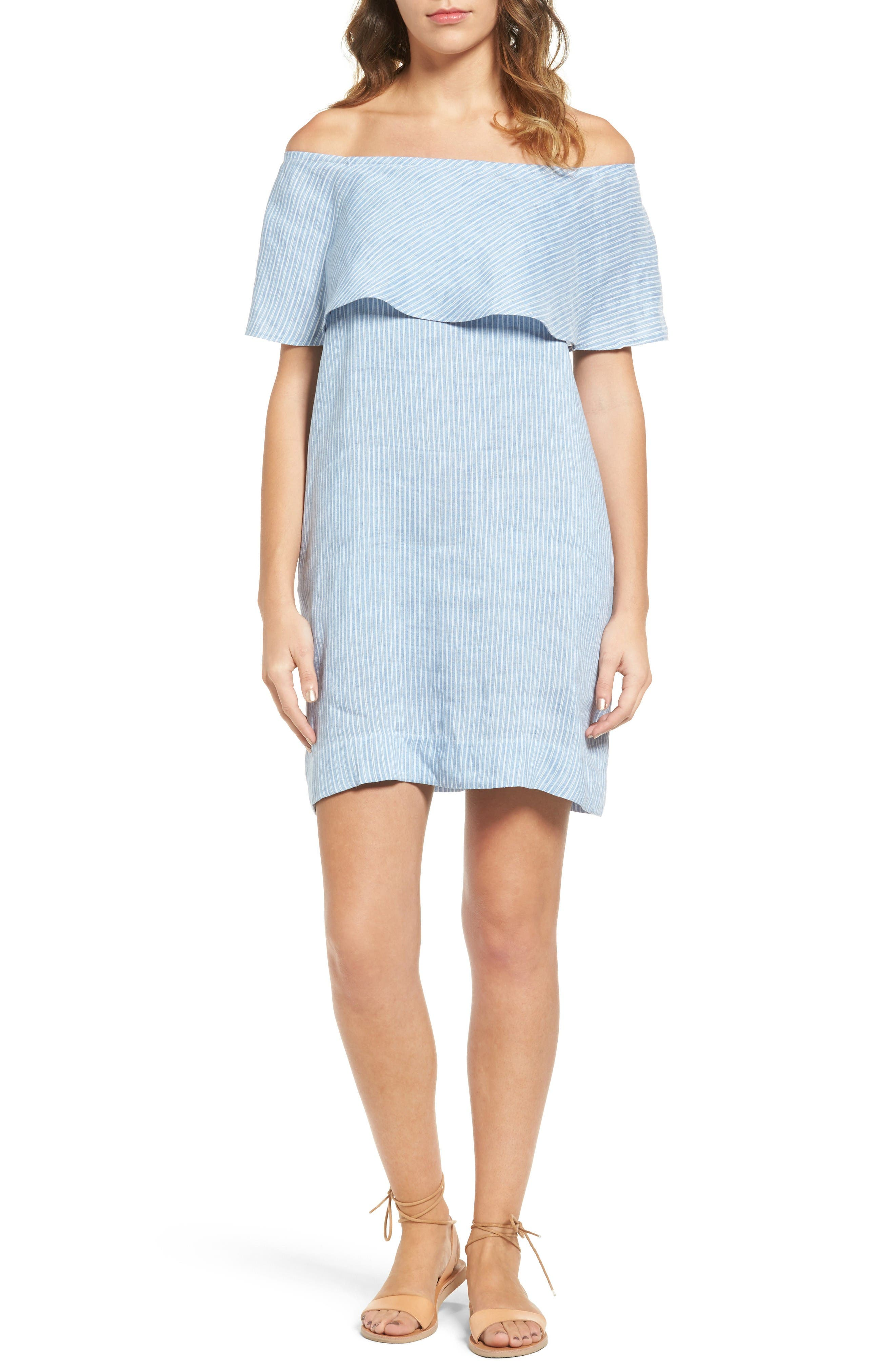 7 FOR ALL MANKIND<SUP>®</SUP> Off the Shoulder Linen Blend Dress
