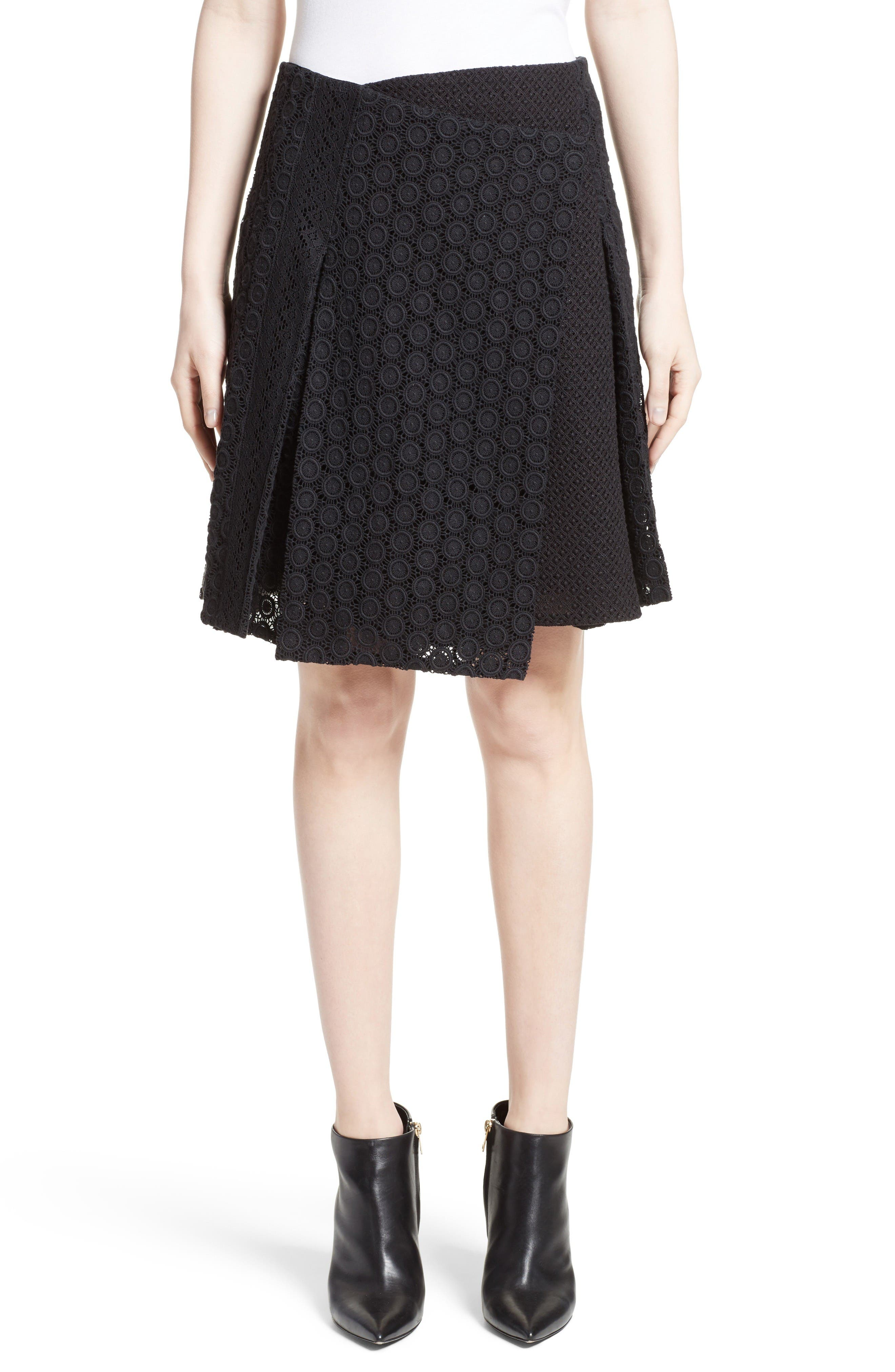 Howe Mixed Lace Pleated Wrap Skirt,                             Main thumbnail 1, color,                             Black