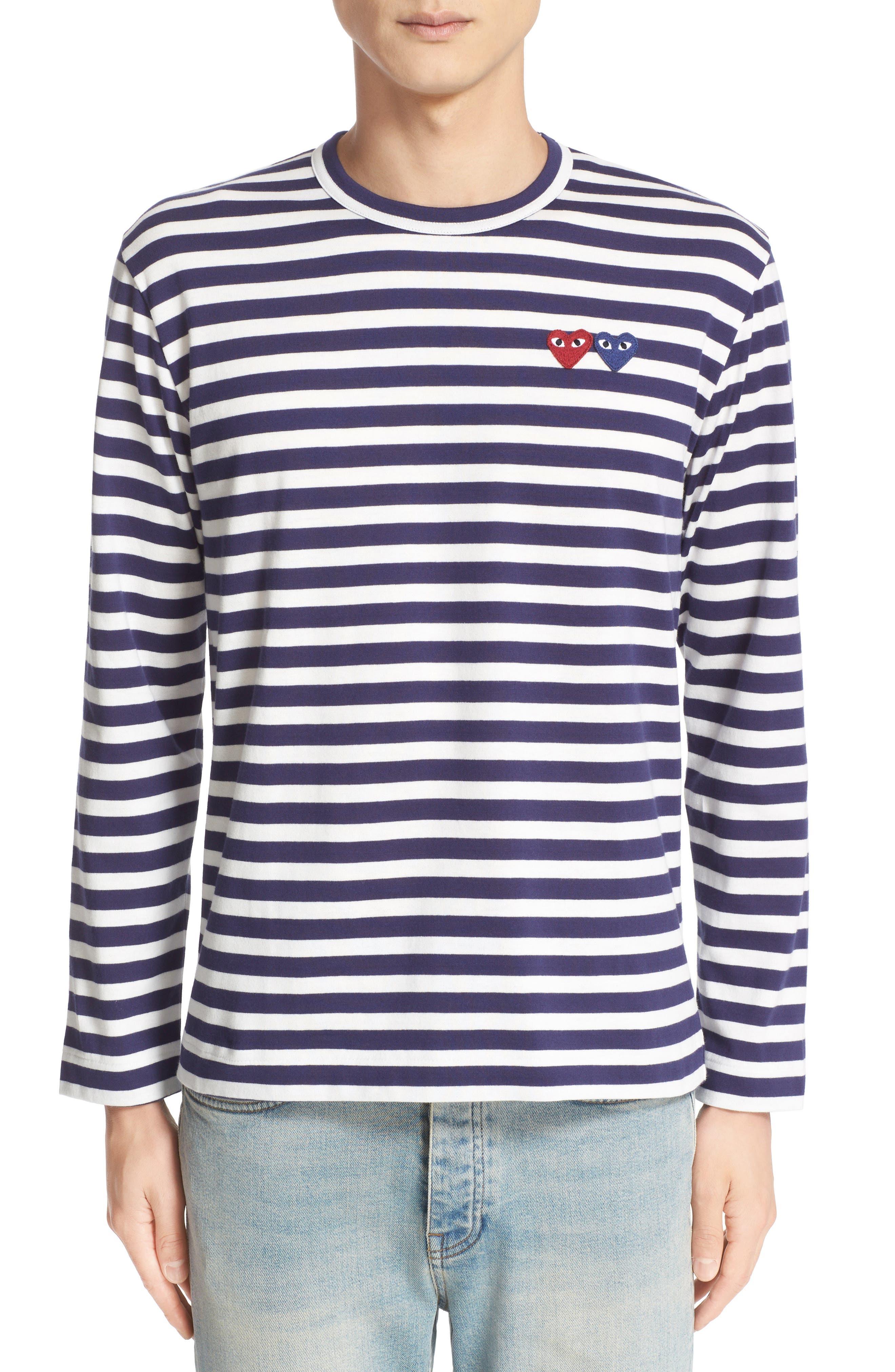 Comme des Garçons Play Twin Appliqué Stripe T-Shirt,                             Main thumbnail 1, color,                             Navy/ White