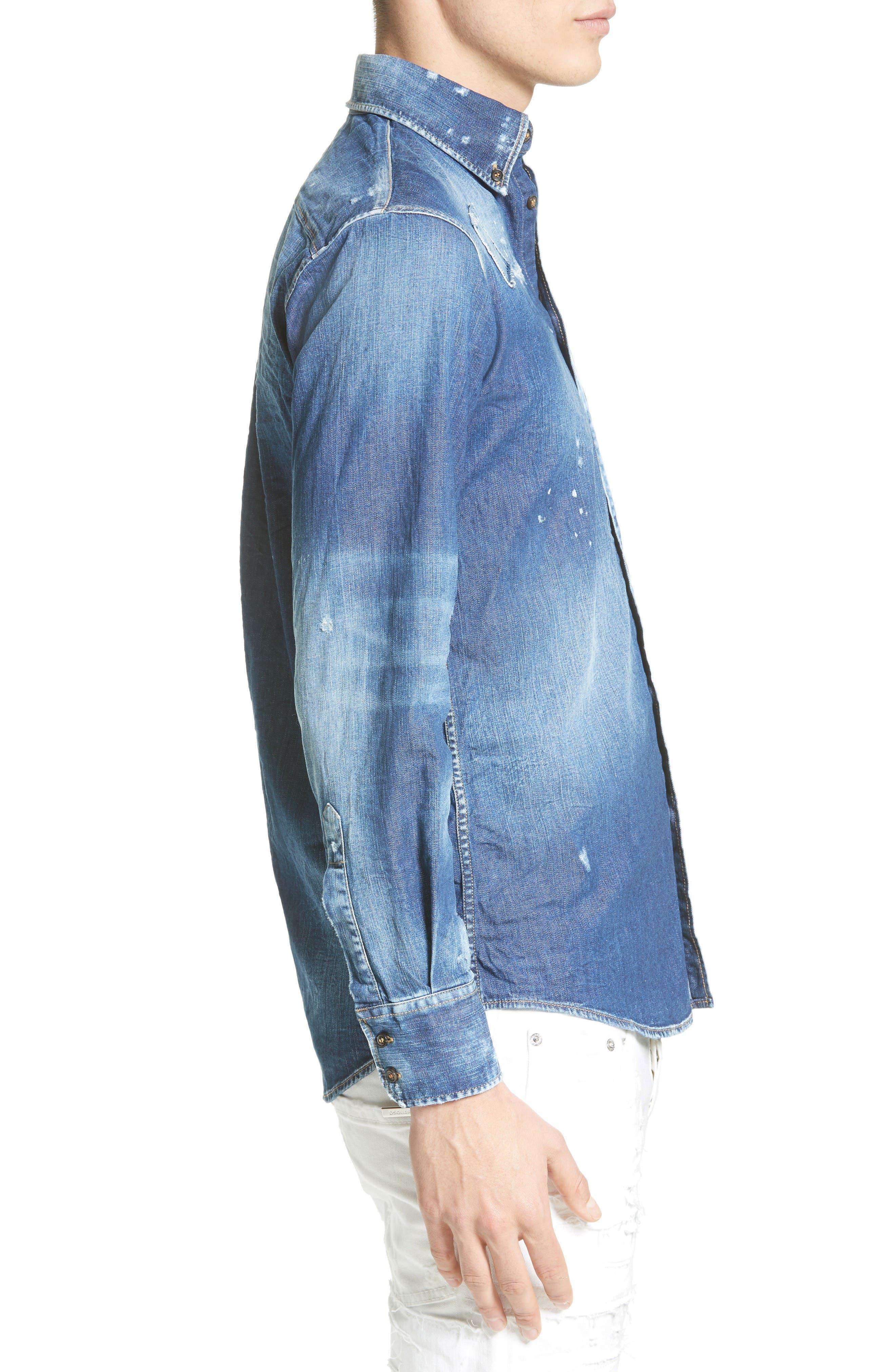 Alternate Image 3  - Dsquared2 Extra Trim Fit Distressed Denim Sport Shirt
