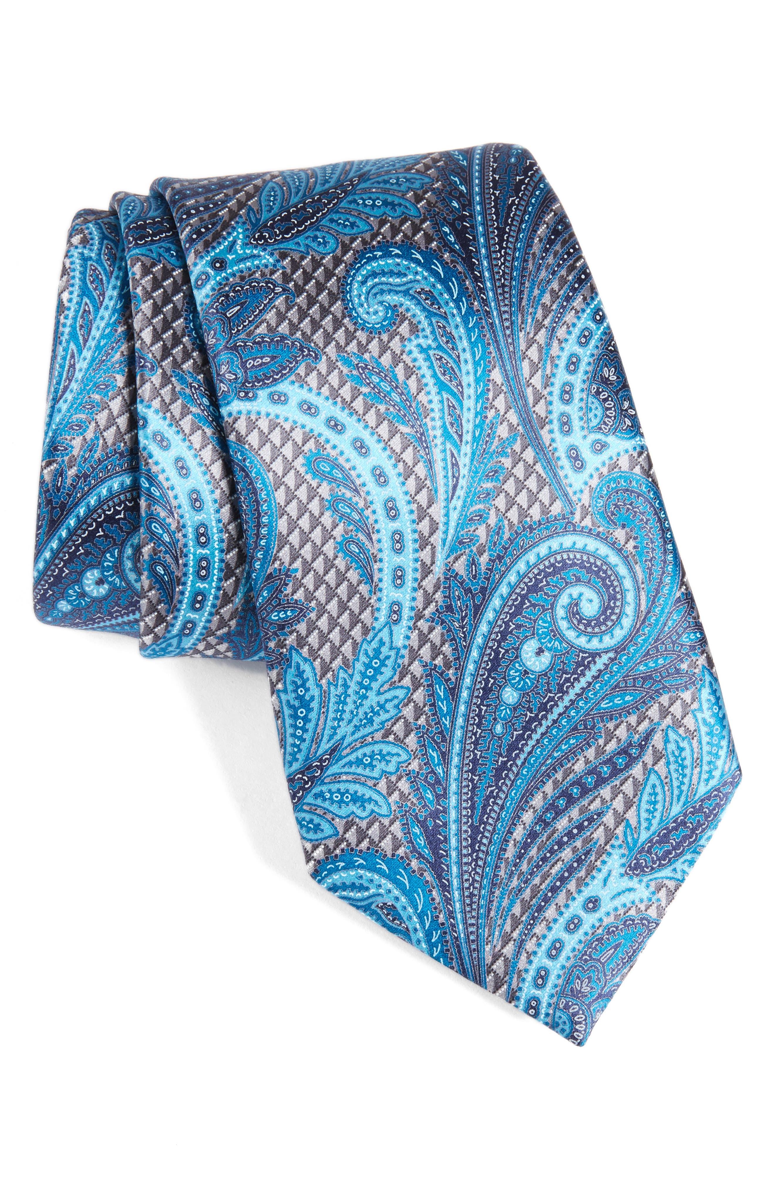 Paisley Silk Tie,                         Main,                         color, Silver