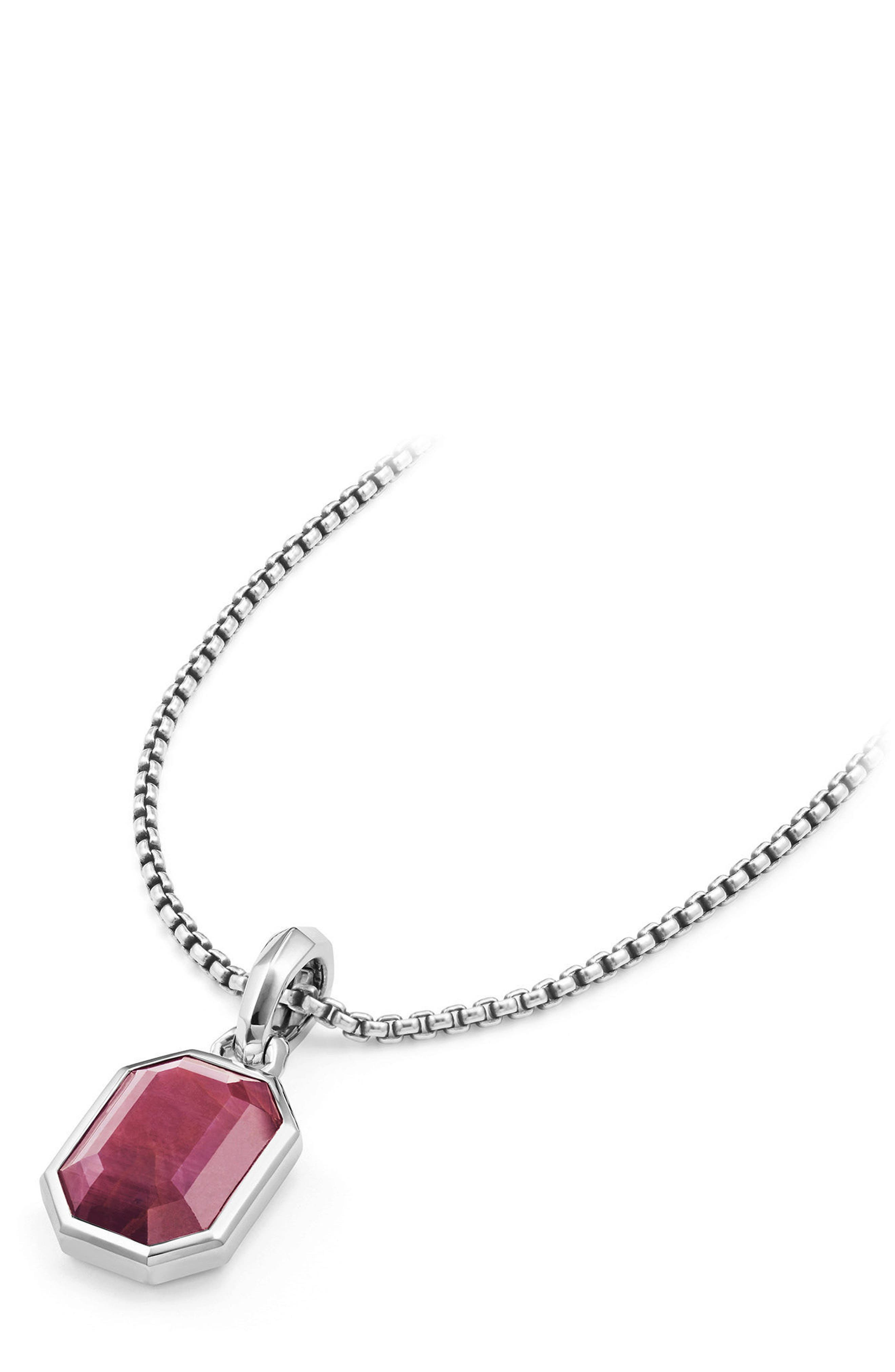 Cable Collectibles Emerald Cut Precious Stone Amulet,                             Alternate thumbnail 3, color,                             Indian Ruby