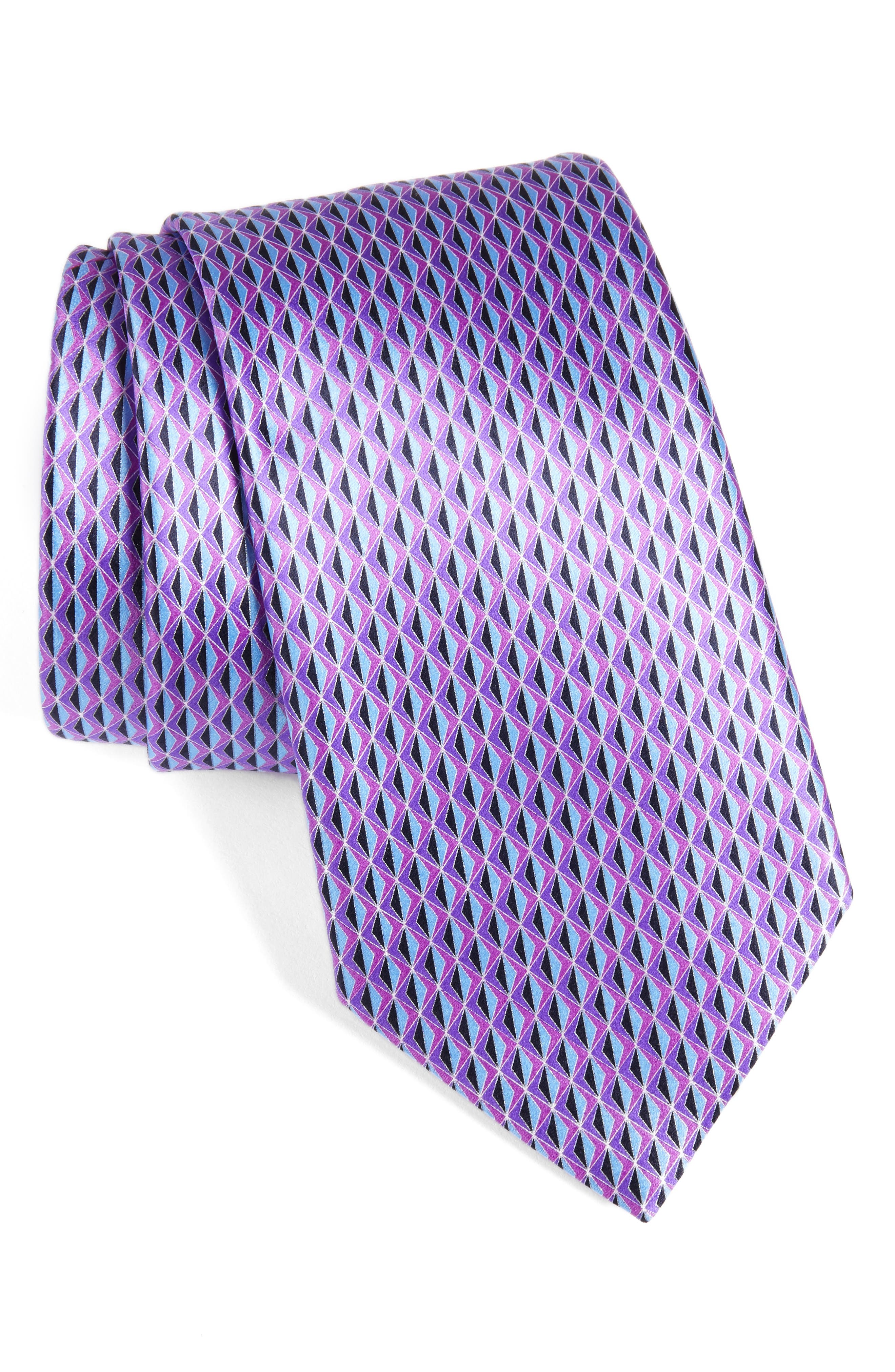 Geometric Silk Tie,                         Main,                         color, Purple