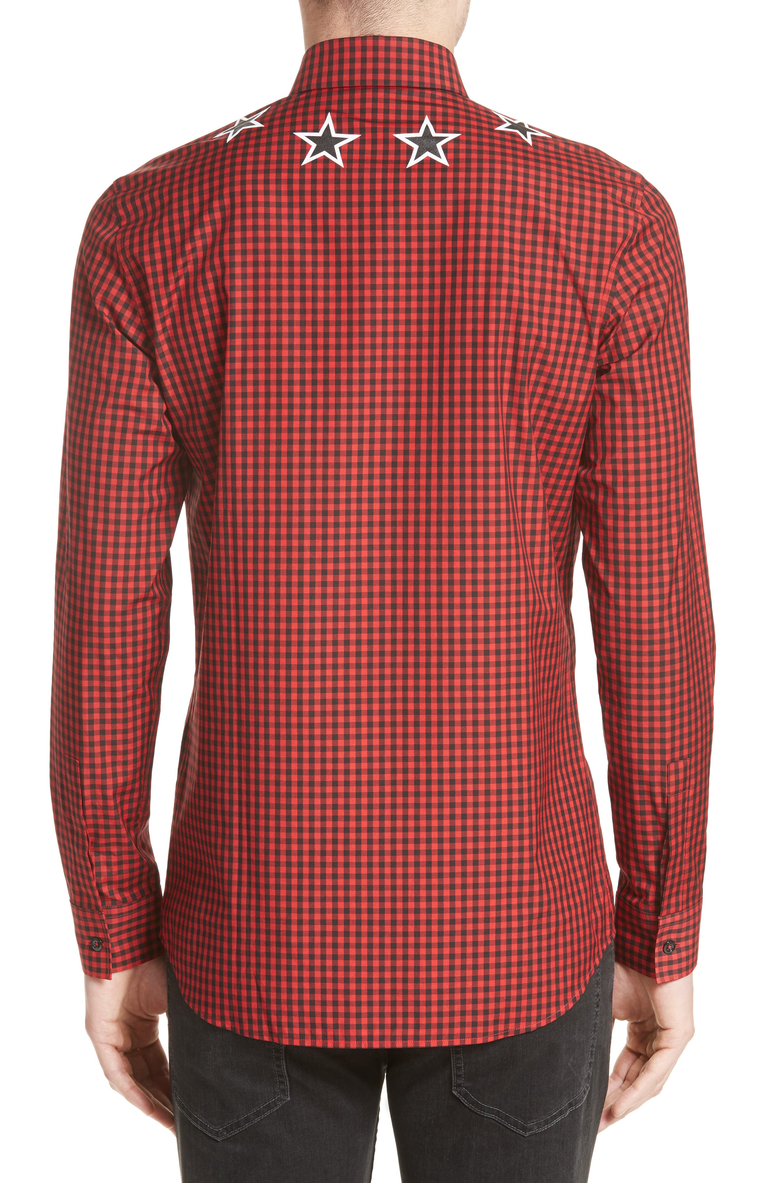 Extra Trim Fit Star Gingham Sport Shirt,                             Alternate thumbnail 2, color,                             Red