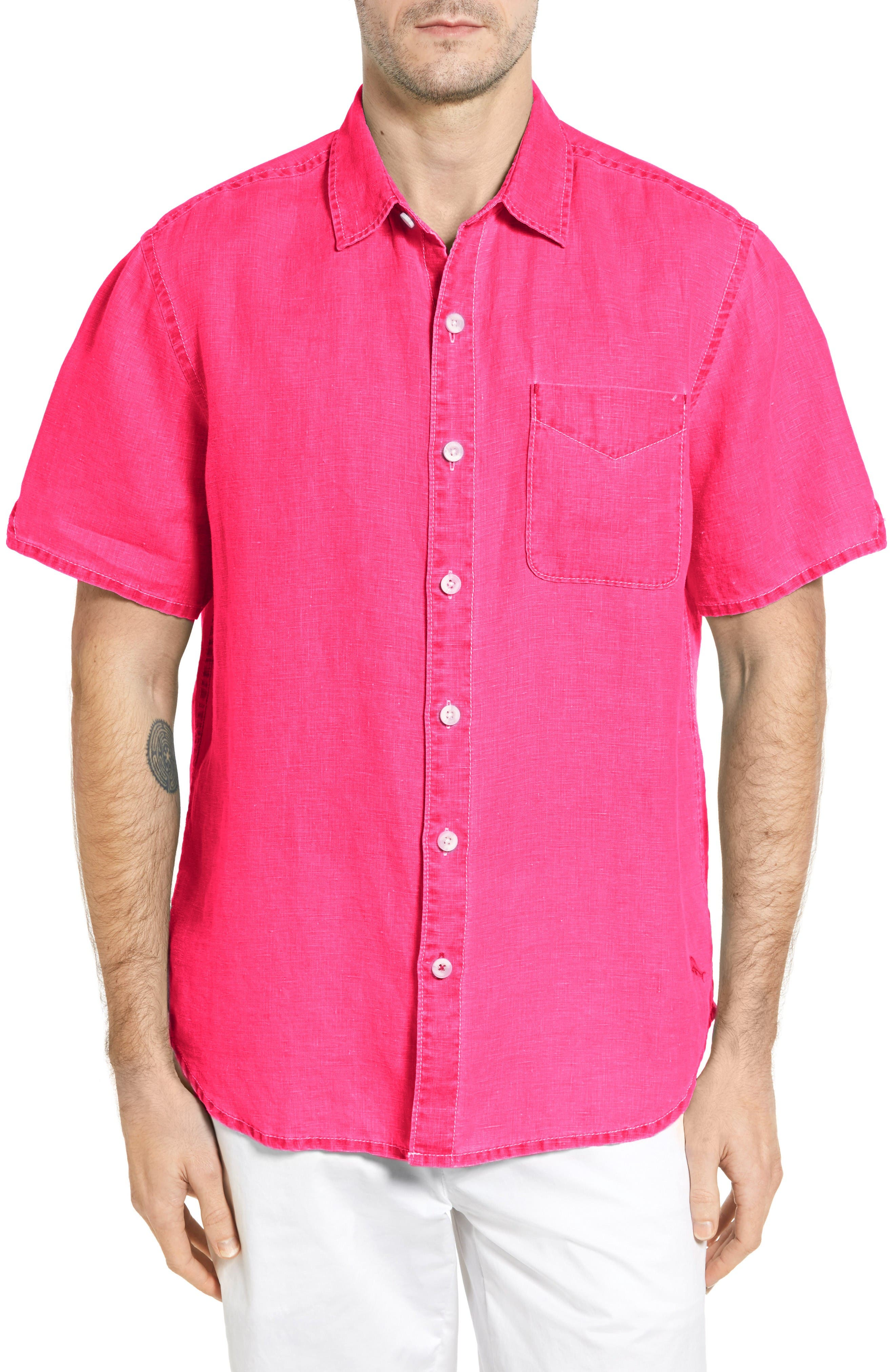 'Sea Glass Breezer' Original Fit Short Sleeve Linen Shirt,                         Main,                         color, Raspberry Sorbet