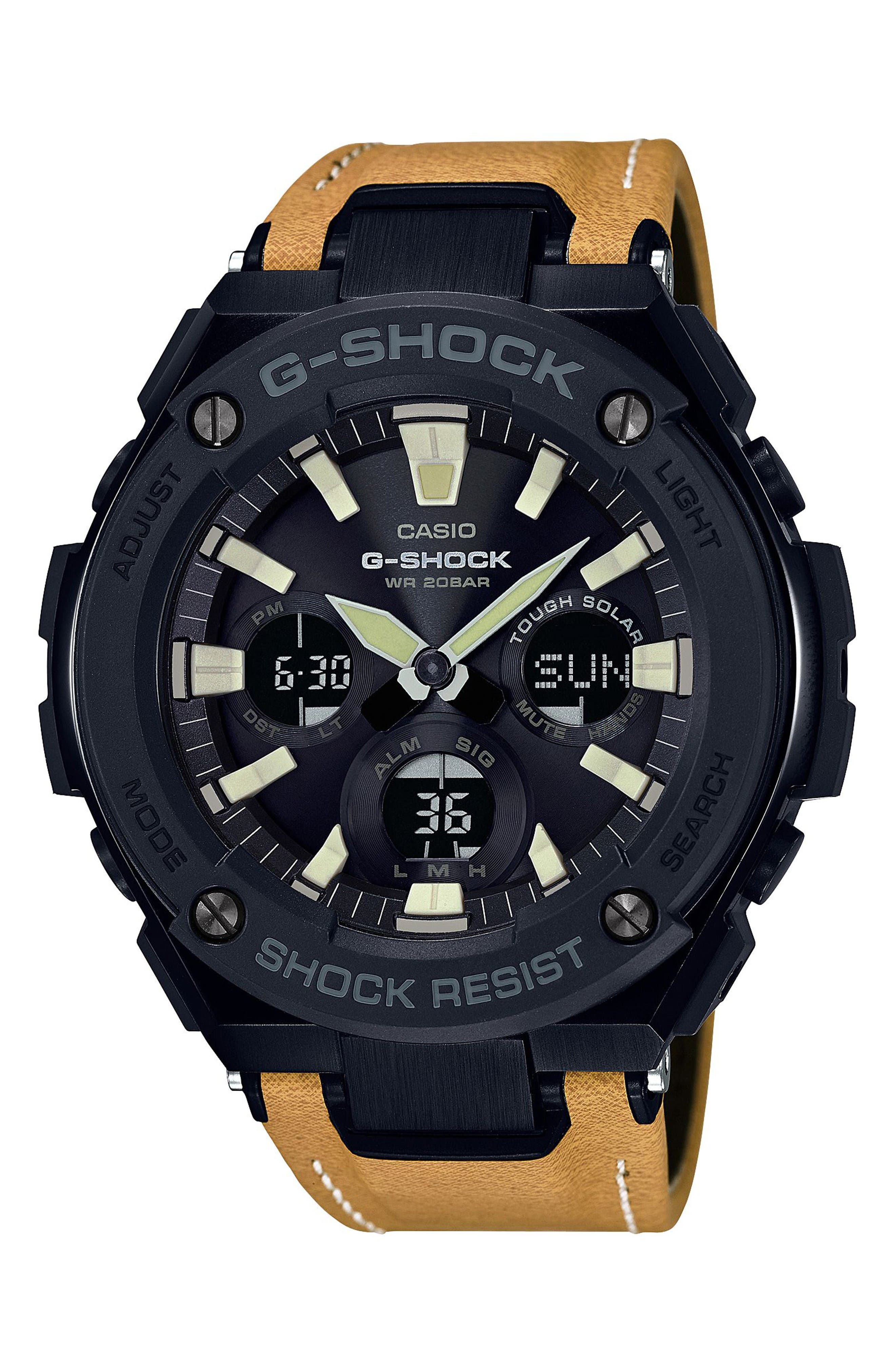 G-Shock G-Steel Solar Leather Strap Watch, 59mm,                         Main,                         color, Tan/ Black