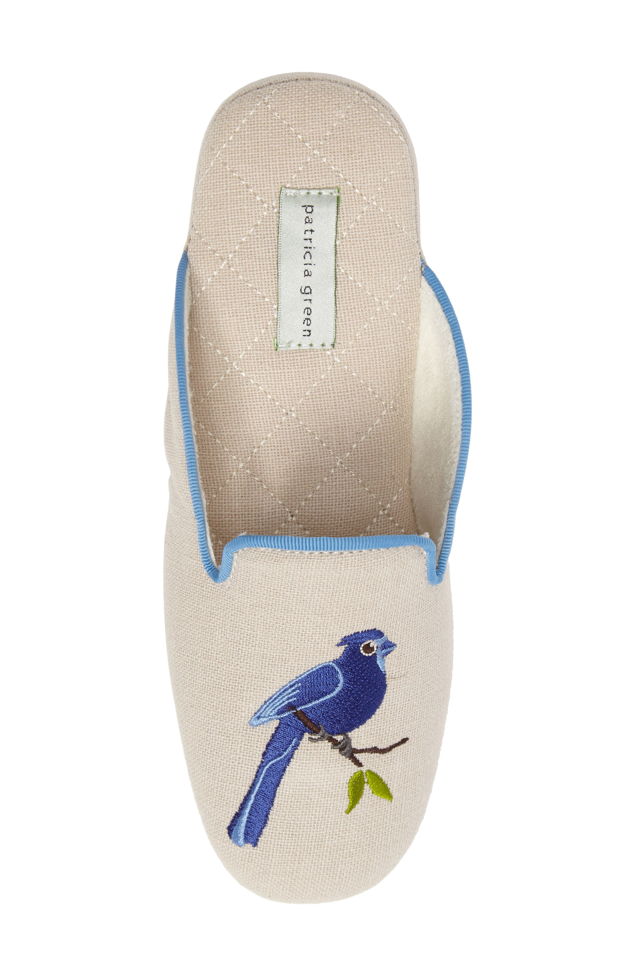 Bluebird Embroidered Slipper,                             Alternate thumbnail 5, color,                             Natural Fabric