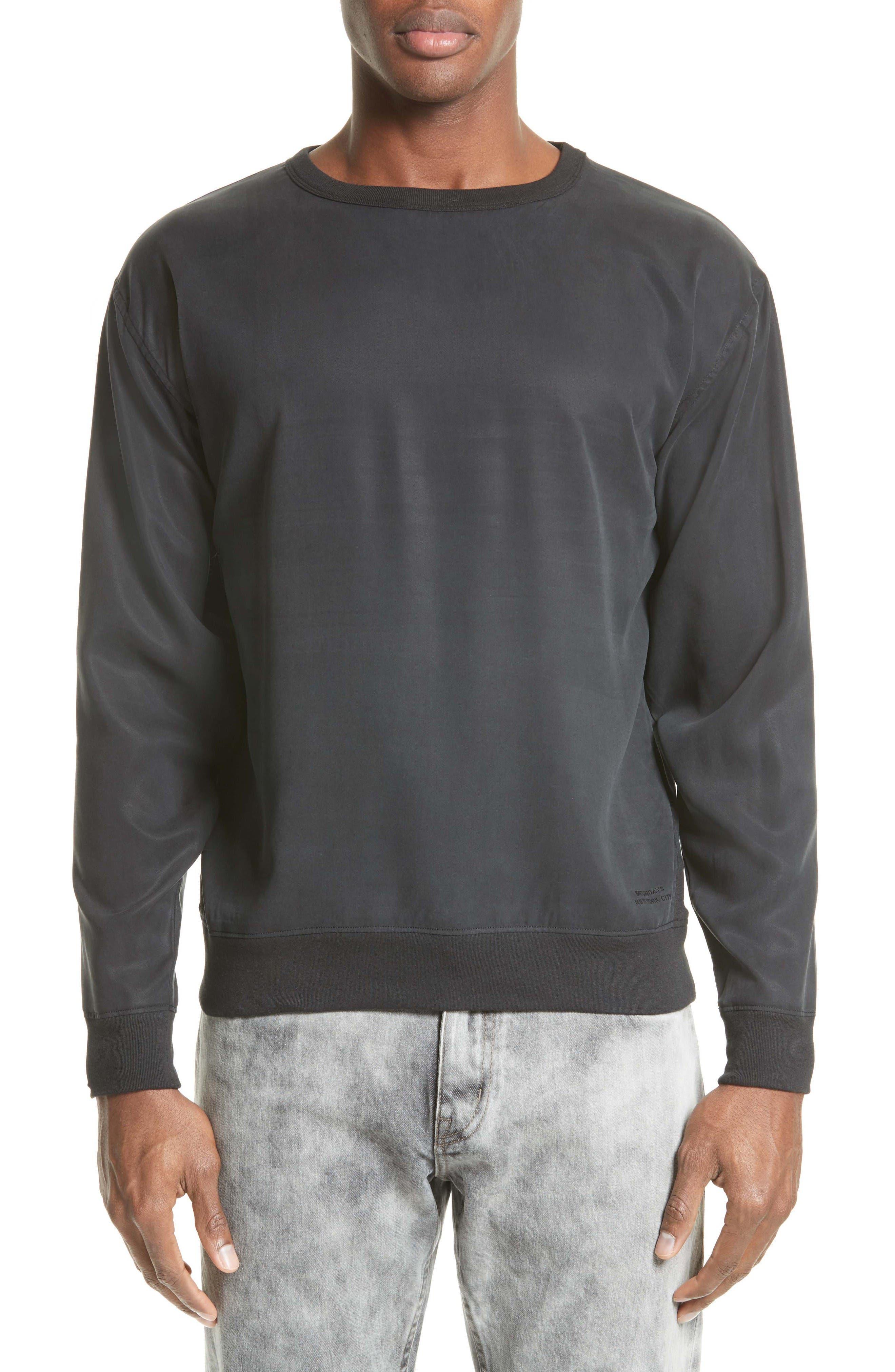 Duey Twill Crewneck Sweatshirt,                         Main,                         color, Black