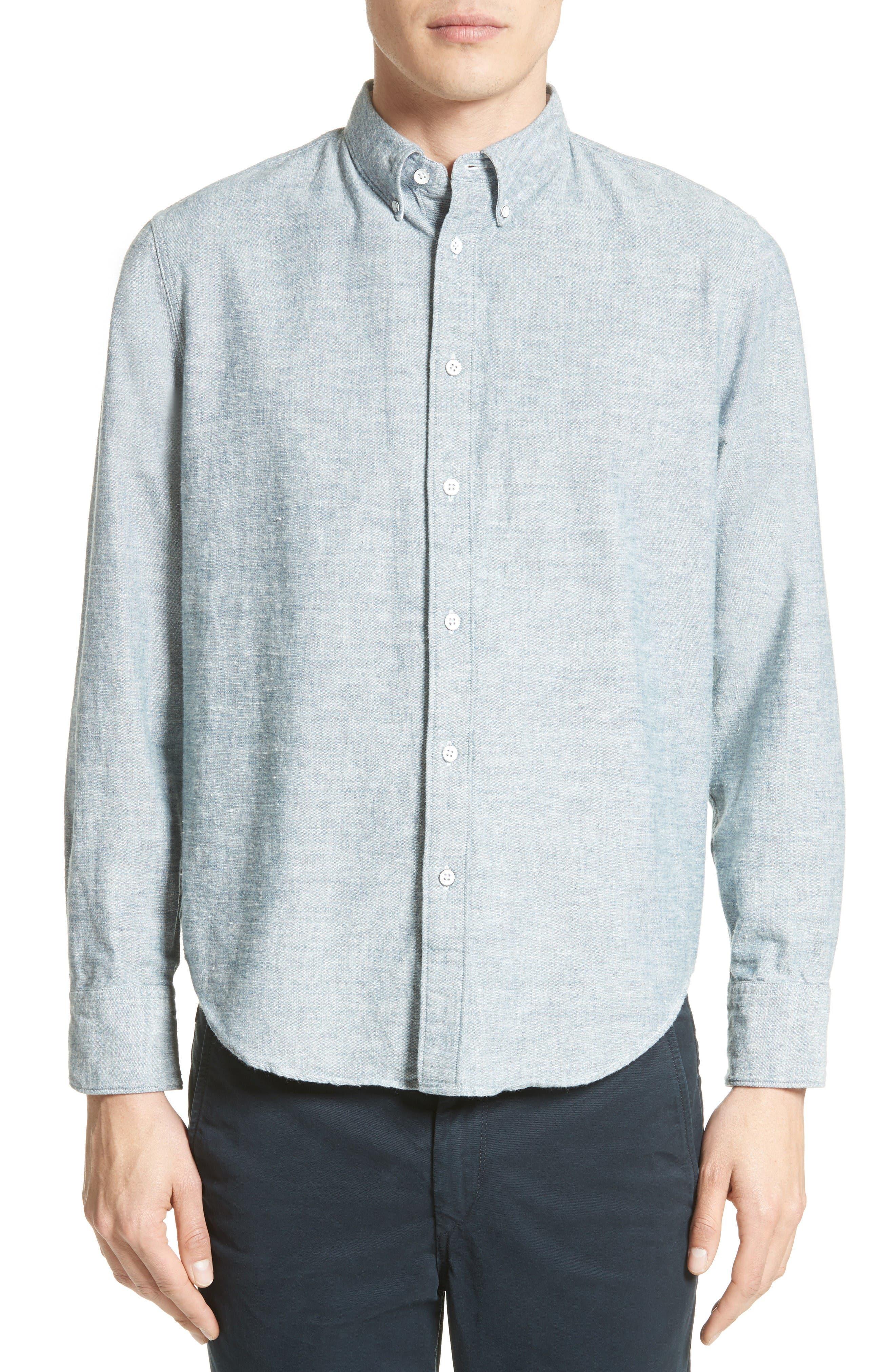 Tomlin Cotton Sport Shirt,                         Main,                         color, Indigo