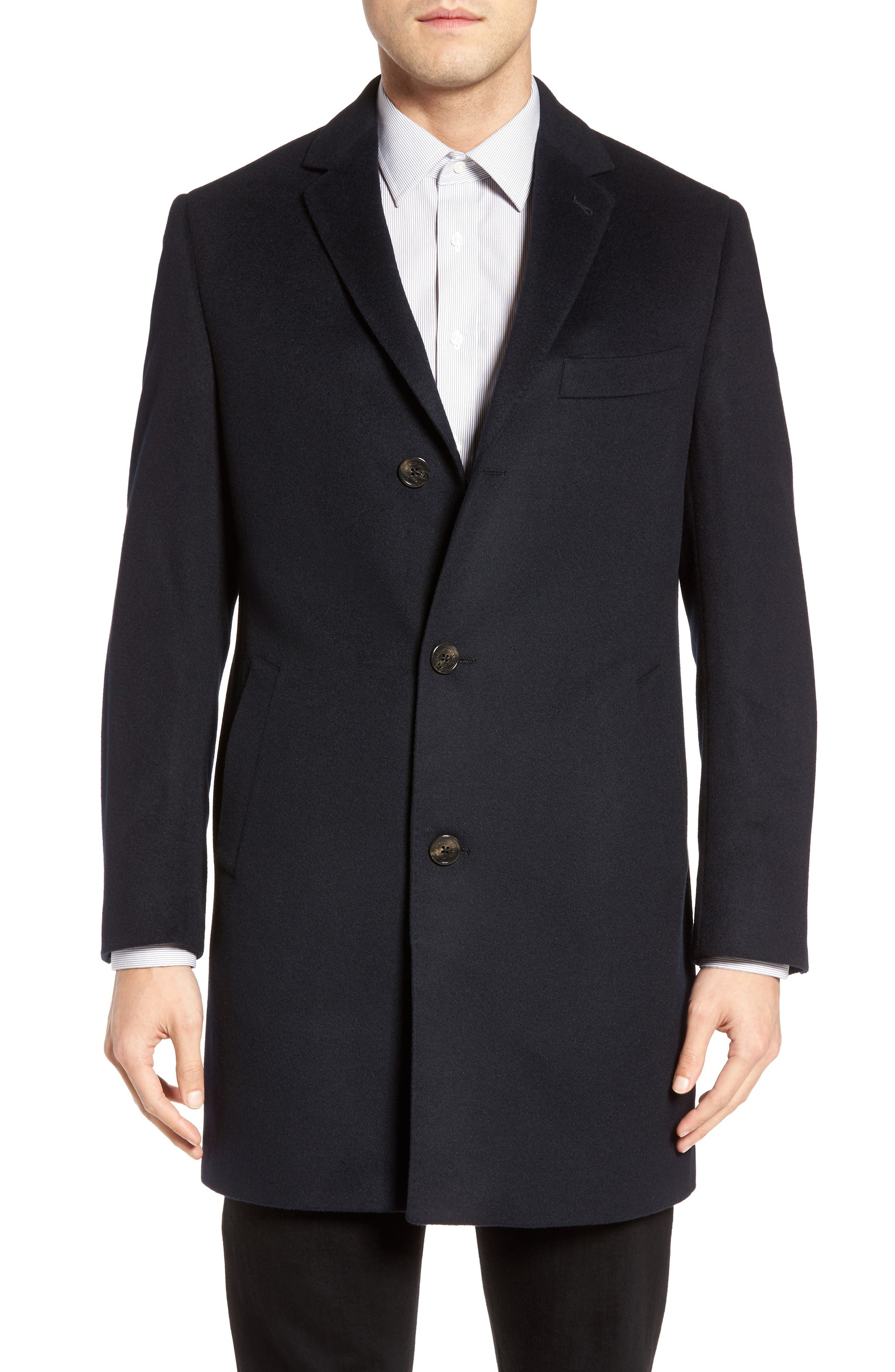 St. Paul Wool & Cashmere Topcoat,                         Main,                         color, Navy