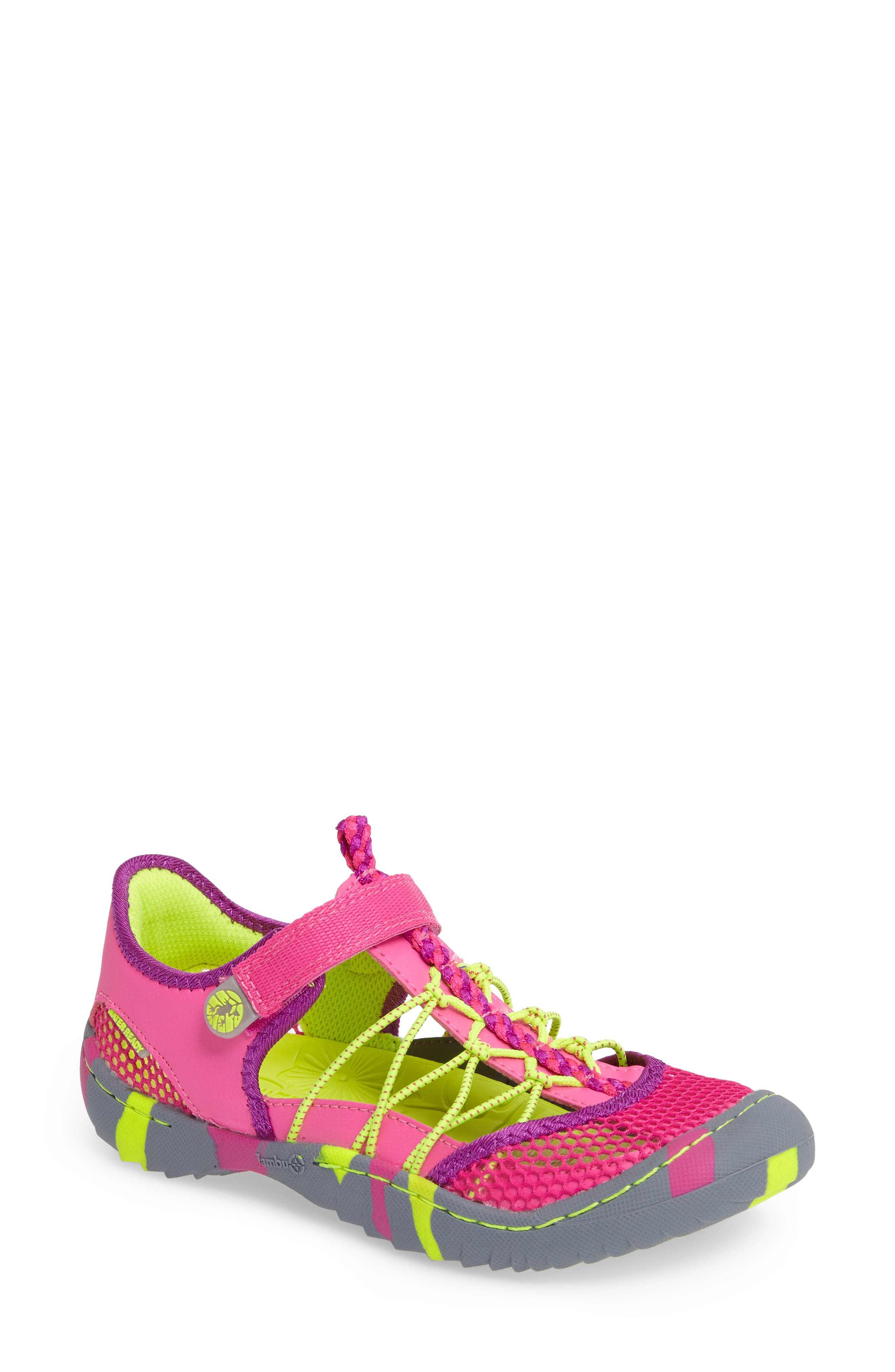 Everly Water Friendly Sport Sandal,                             Main thumbnail 1, color,                             Pink/ Neon