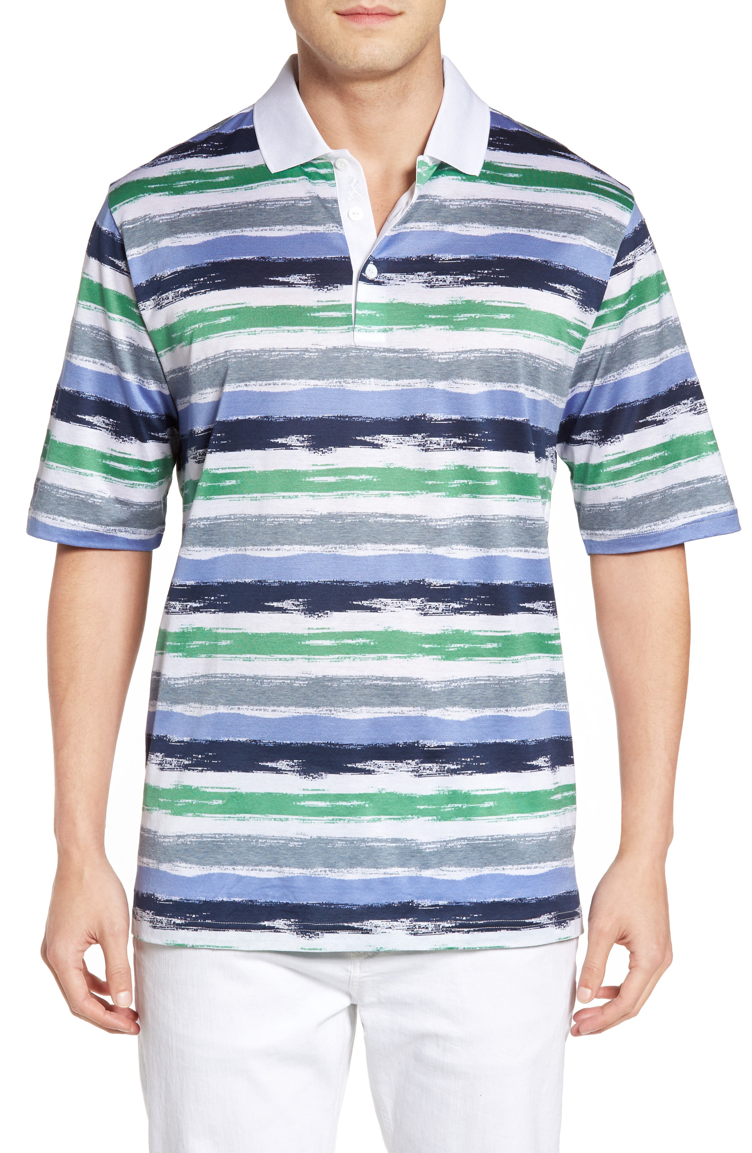 Brushstroke Stripe Polo,                         Main,                         color, Paradise