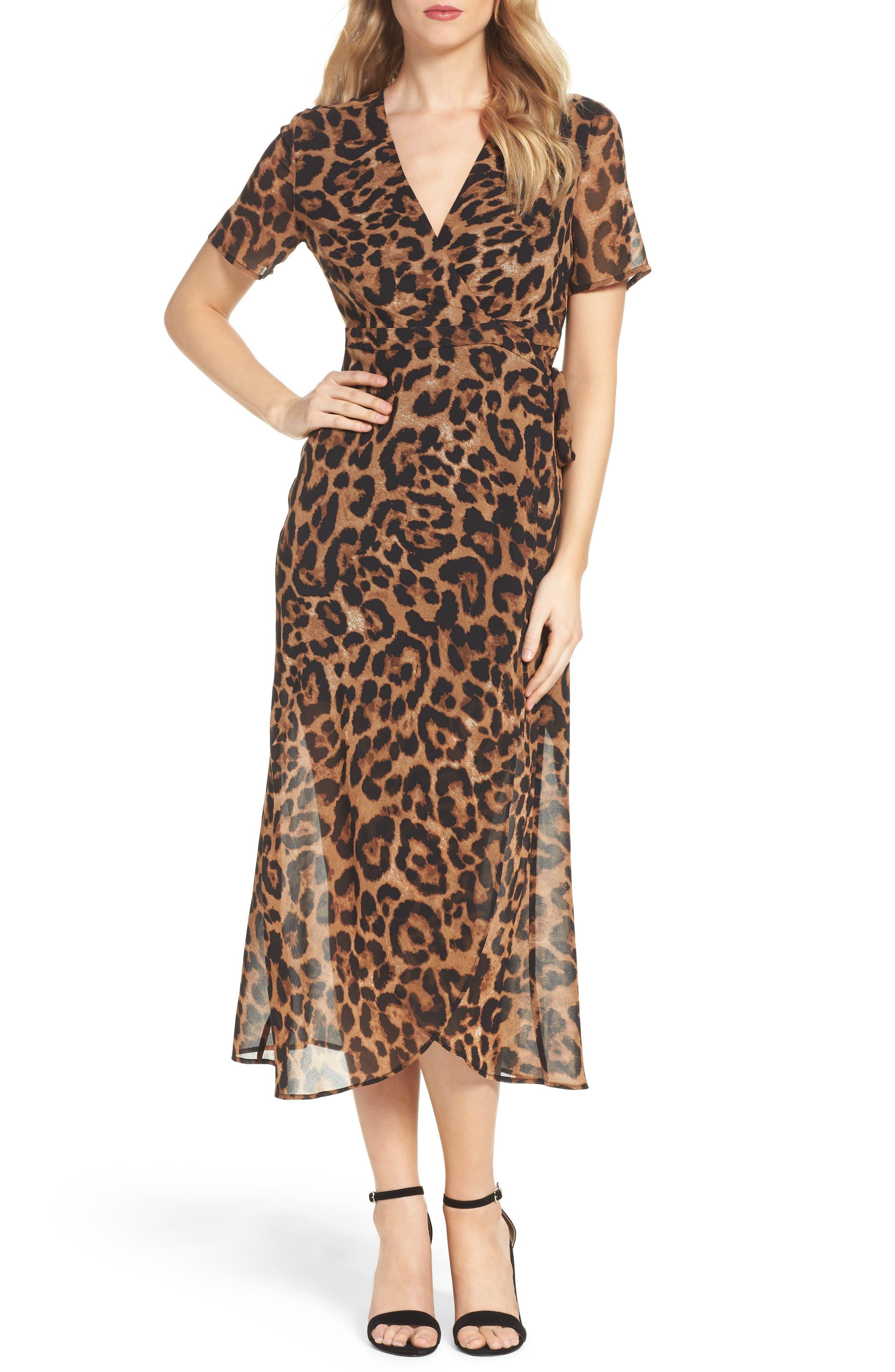 Leopard Print Wrap Dress,                         Main,                         color, Black Leopard