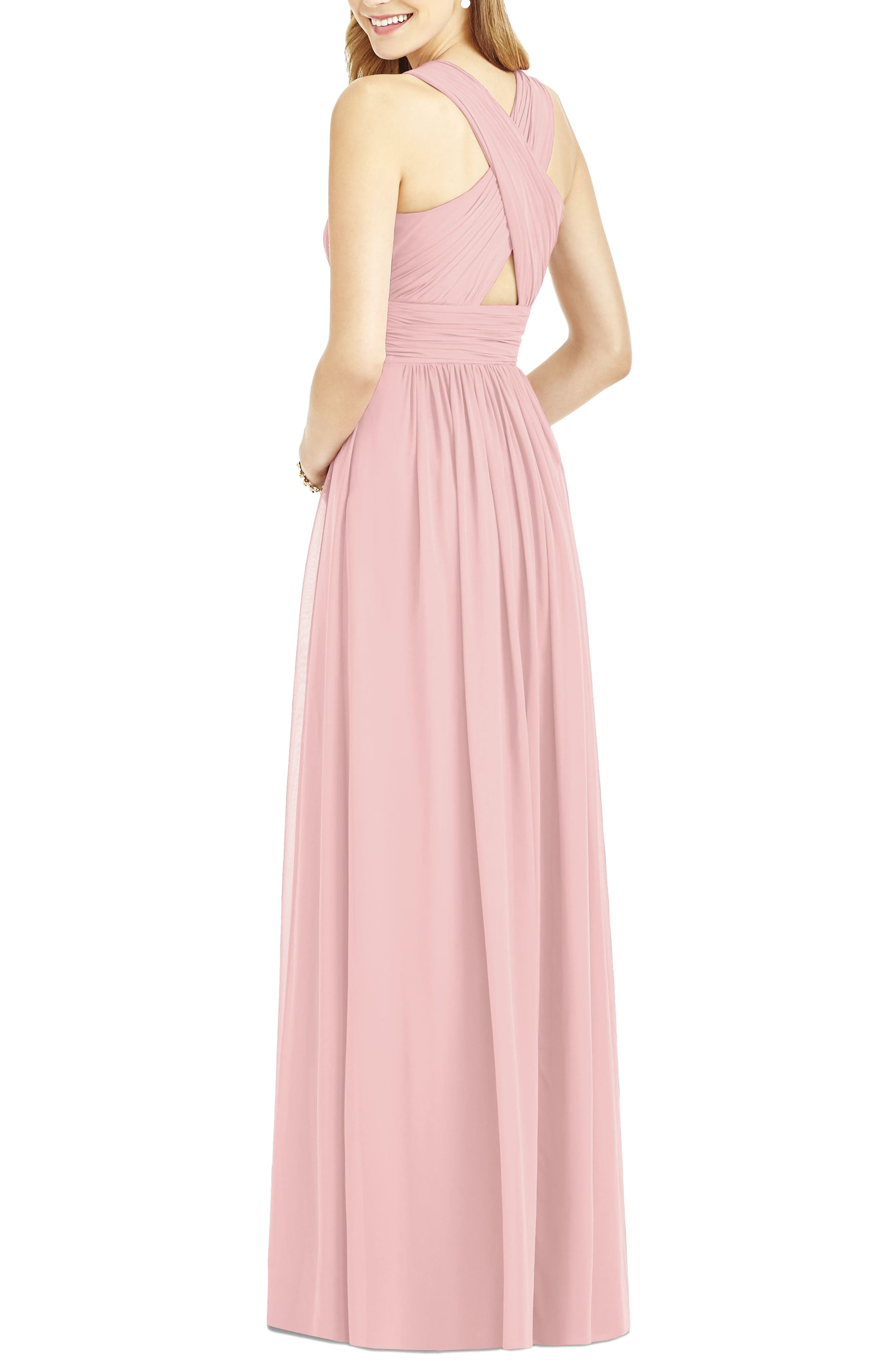 Crisscross Back Ruched Chiffon V-Neck Gown,                             Alternate thumbnail 2, color,                             Rose