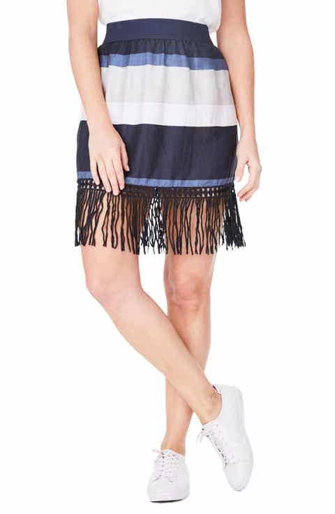 ELVI Fringe Stripe Linen Blend Skirt (Plus Size)