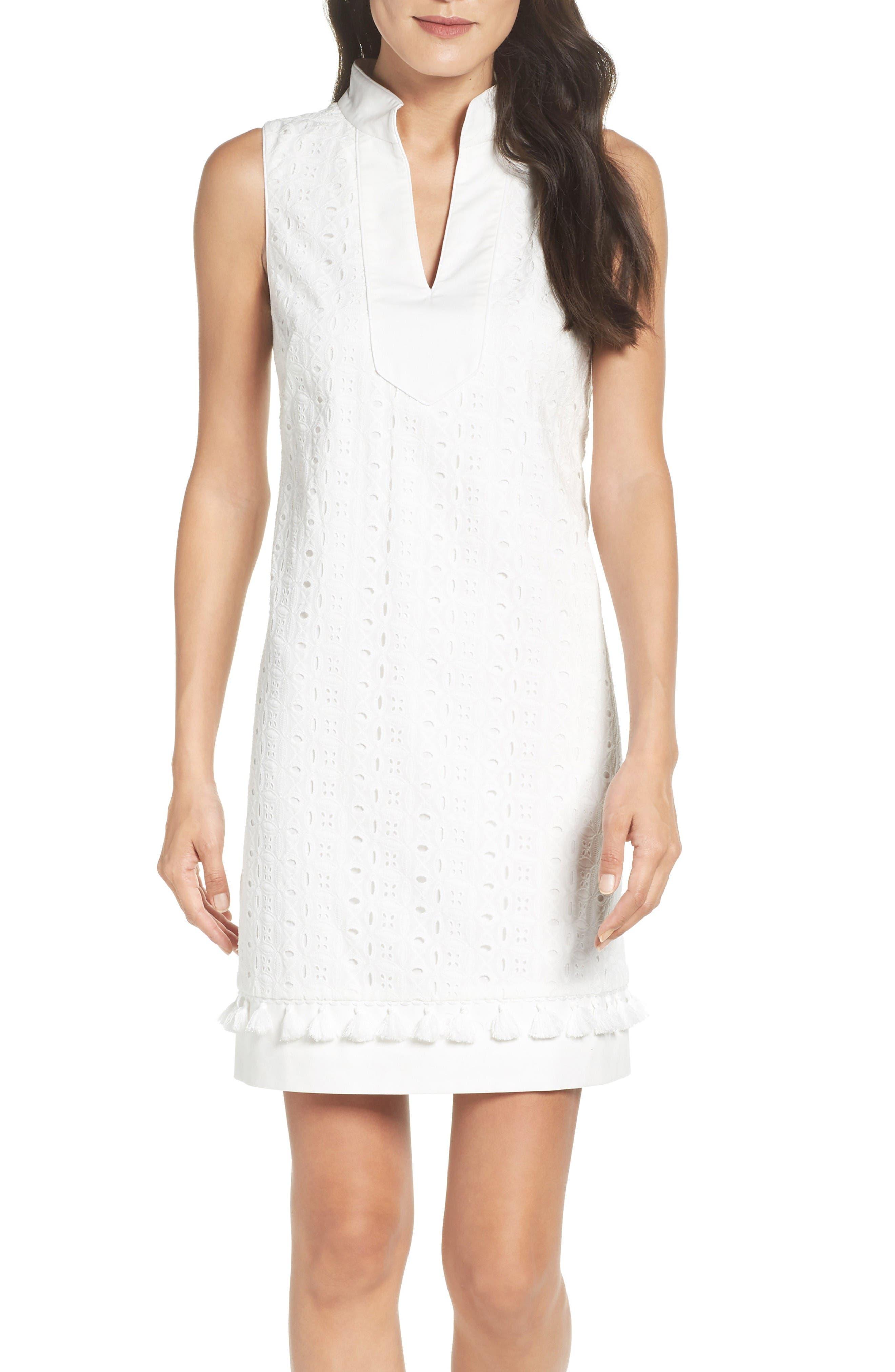 Mandarin Collar Shift Dress,                             Alternate thumbnail 4, color,                             White