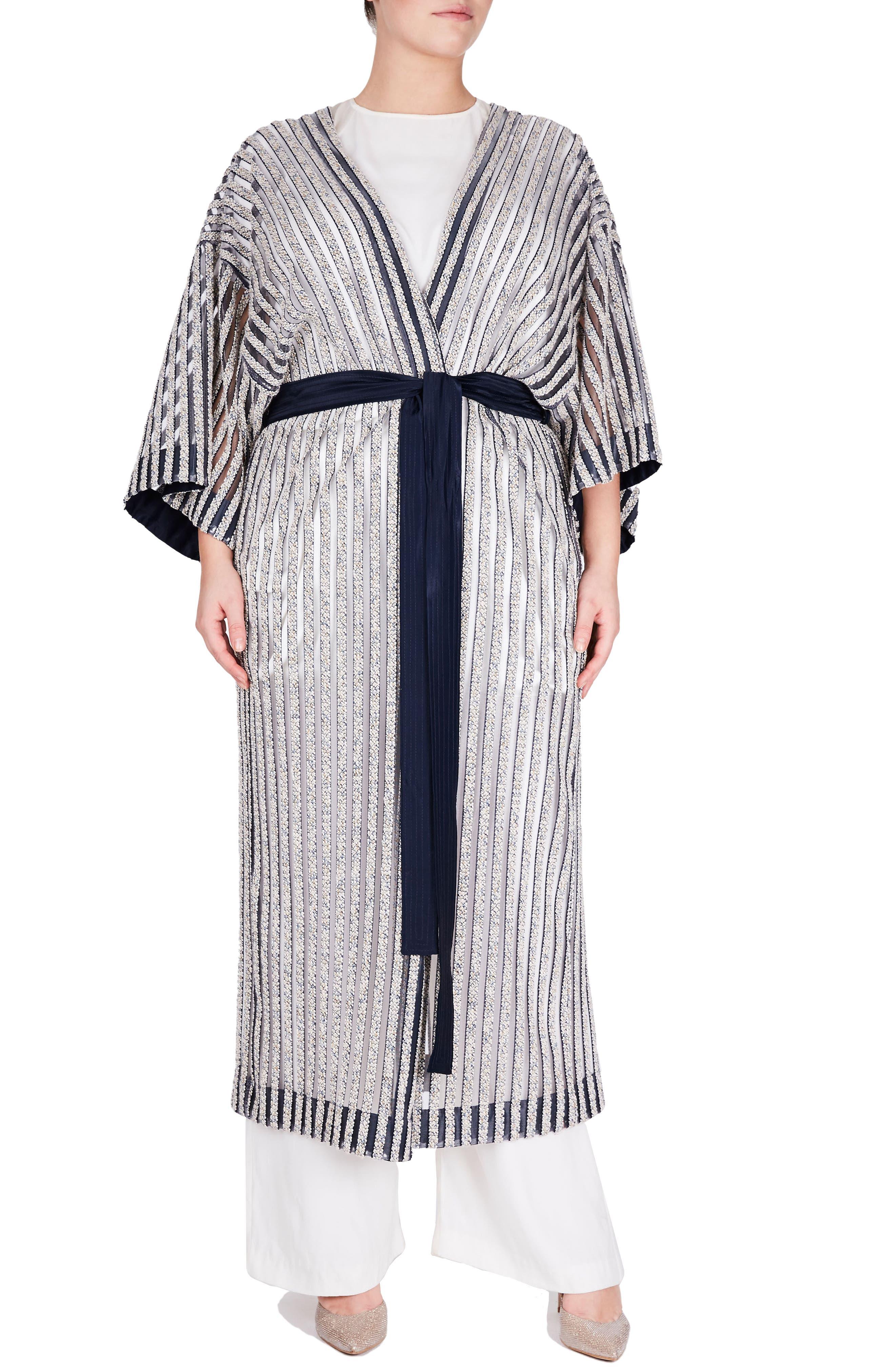 ELVI Textured Stripe Kimono (Plus Size)
