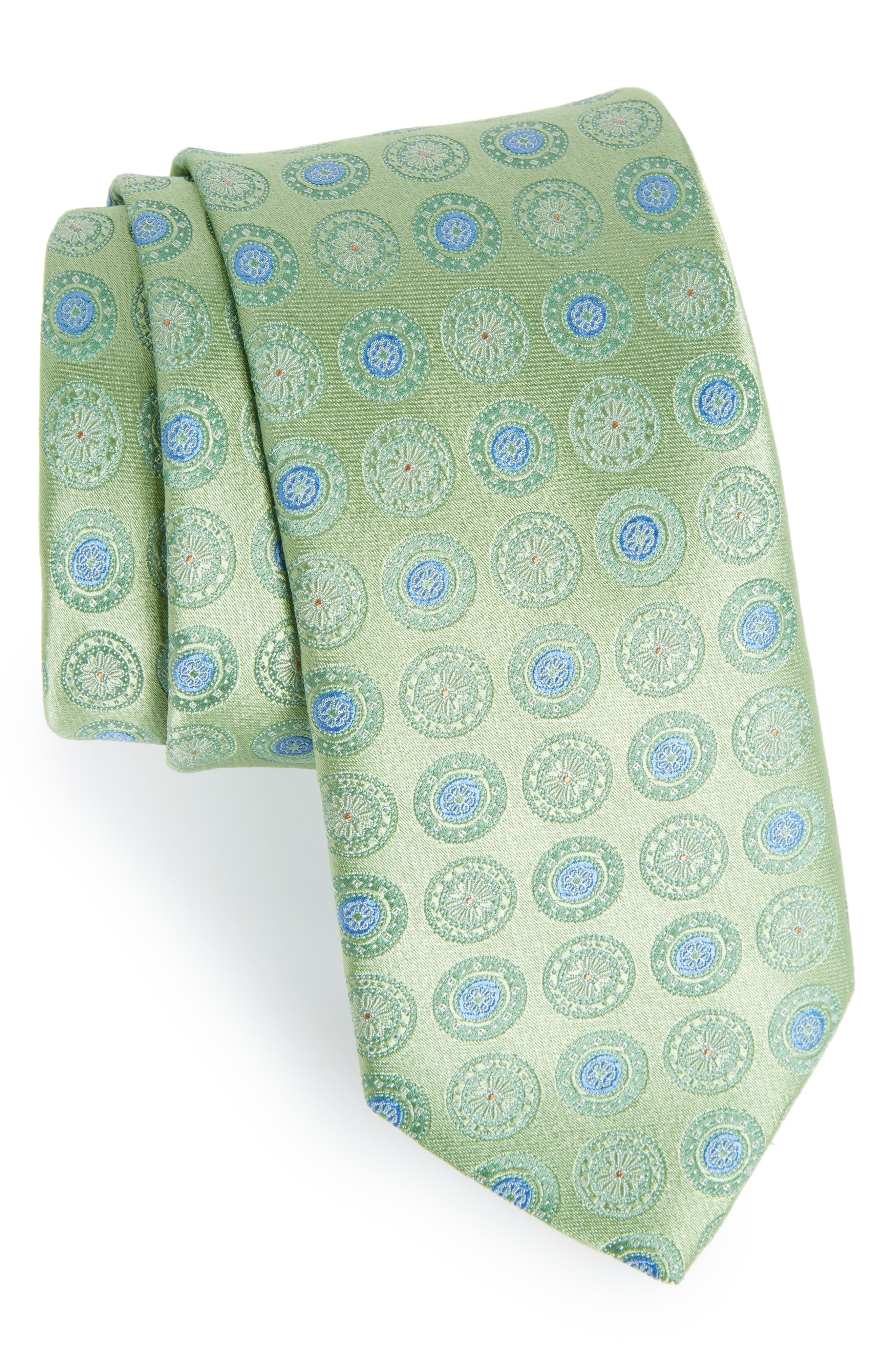 Medallion Silk Tie,                             Main thumbnail 1, color,                             Green