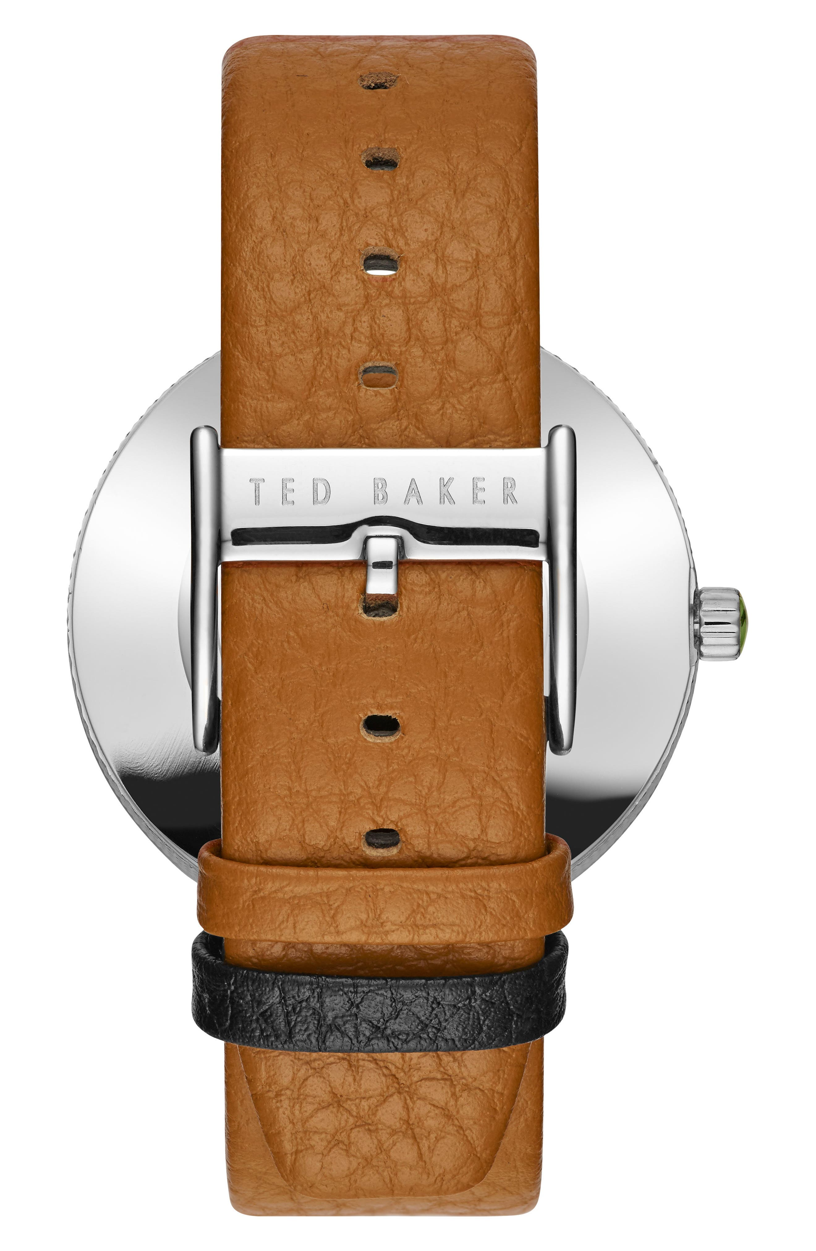 Alternate Image 2  - Ted Baker London Jack Round Leather Strap Watch, 40mm