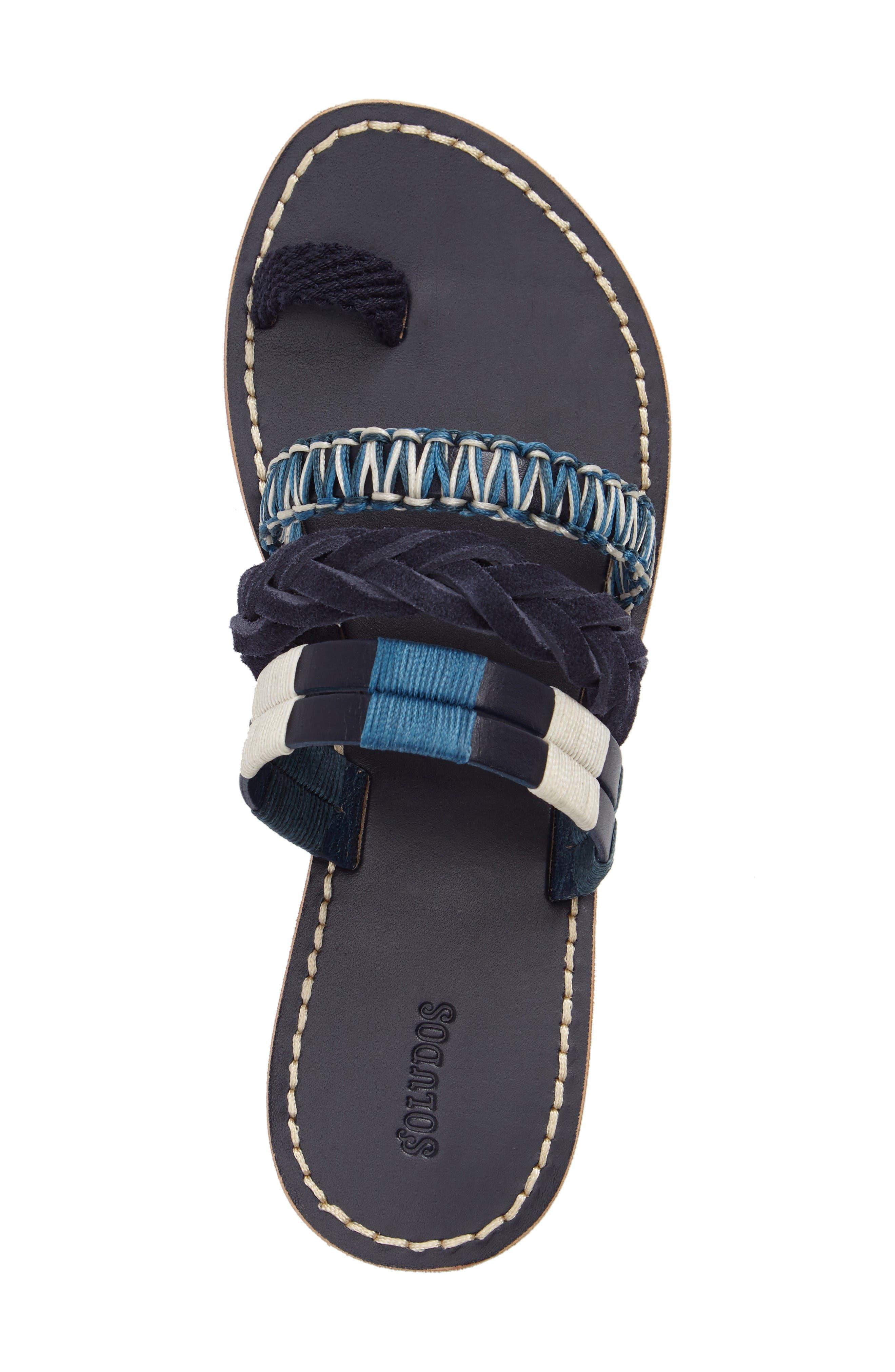 Slide Sandal,                             Alternate thumbnail 6, color,                             Midnight/ Blue Multi Leather
