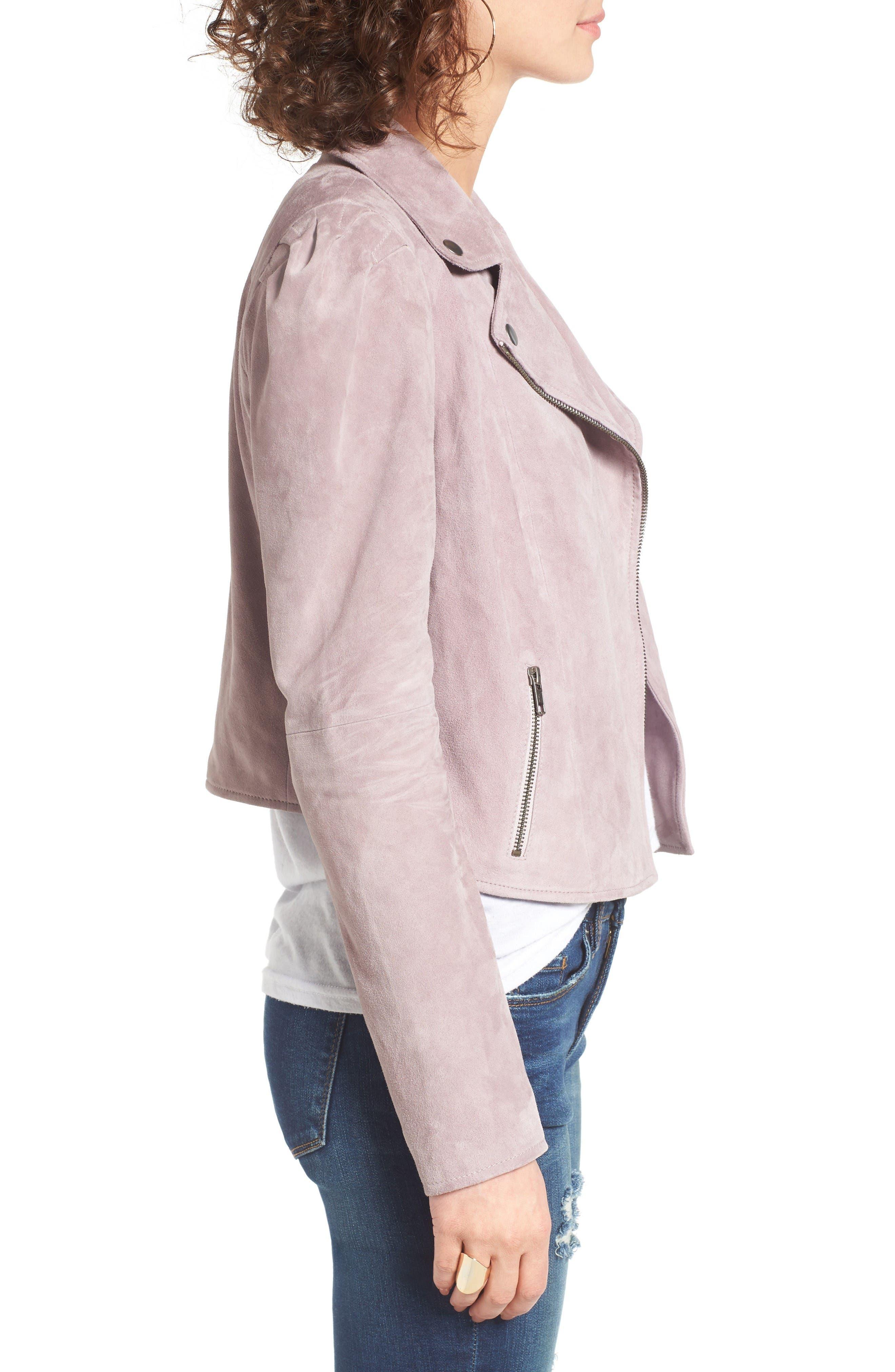 Suede Moto Jacket,                             Alternate thumbnail 3, color,                             Purple Quail