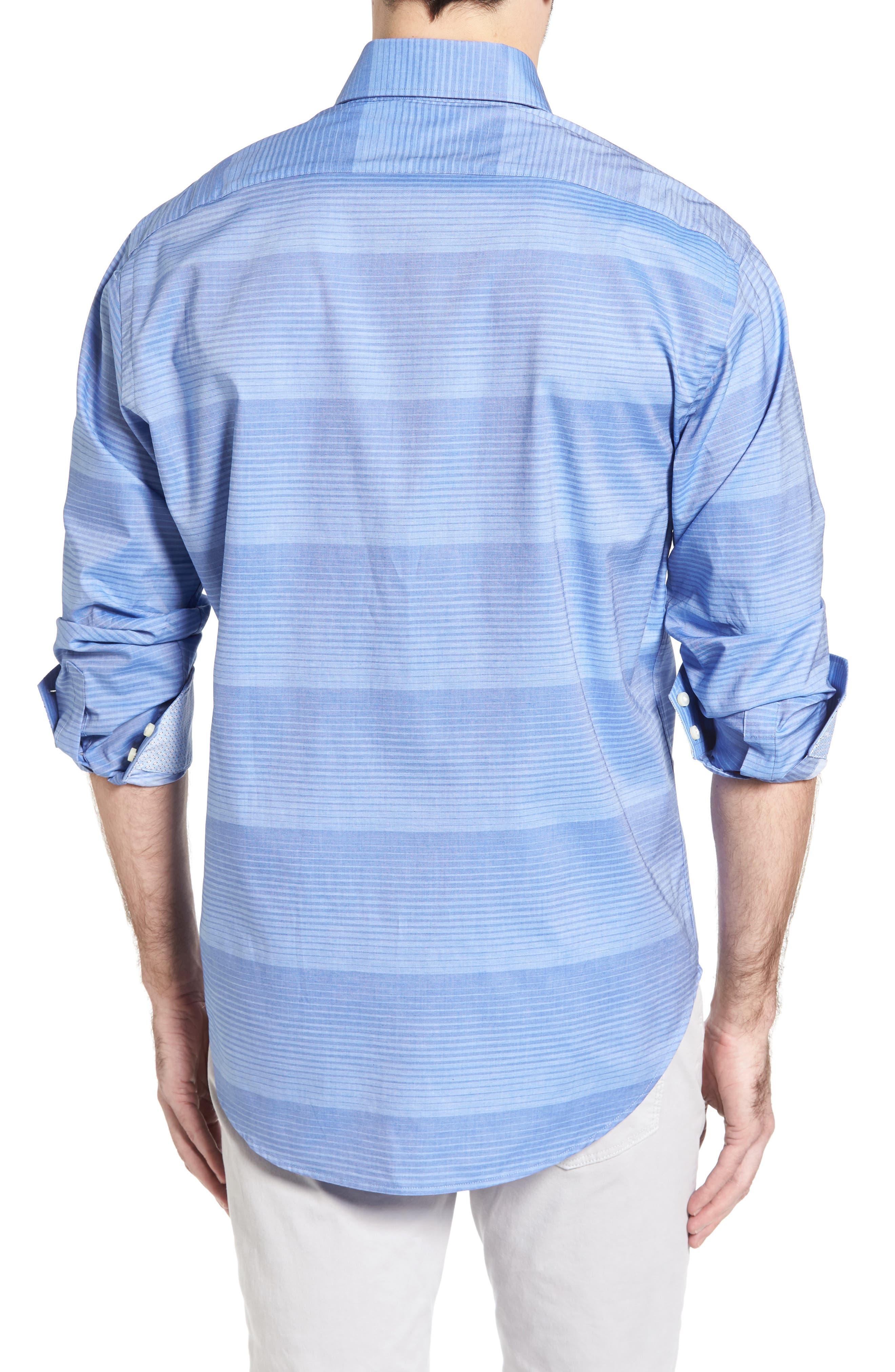 Alternate Image 2  - Thomas Dean Classic Fit Graduated Stripe Sport Shirt