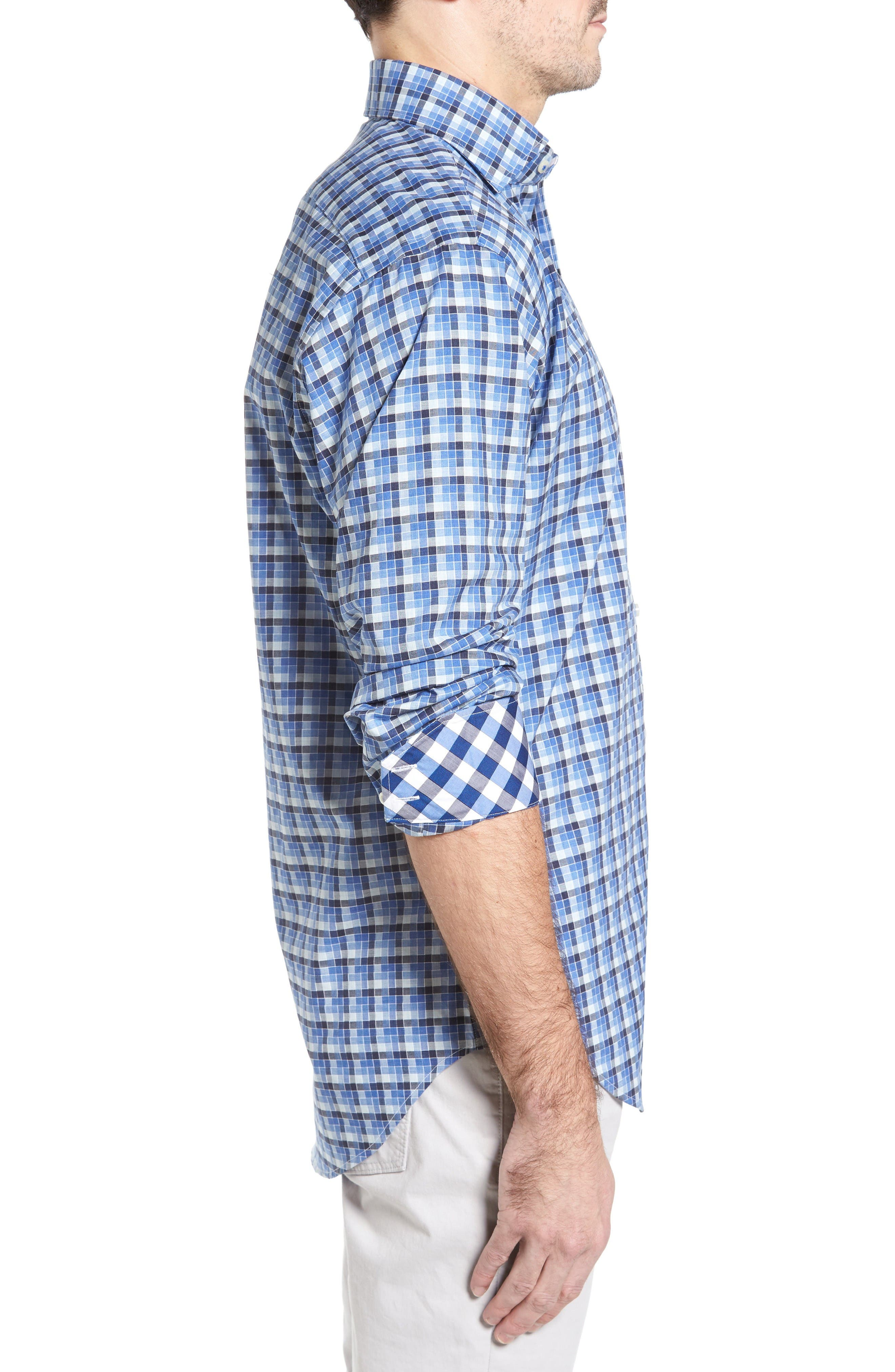 Classic Fit Funky Check Sport Shirt,                             Alternate thumbnail 3, color,                             Blue