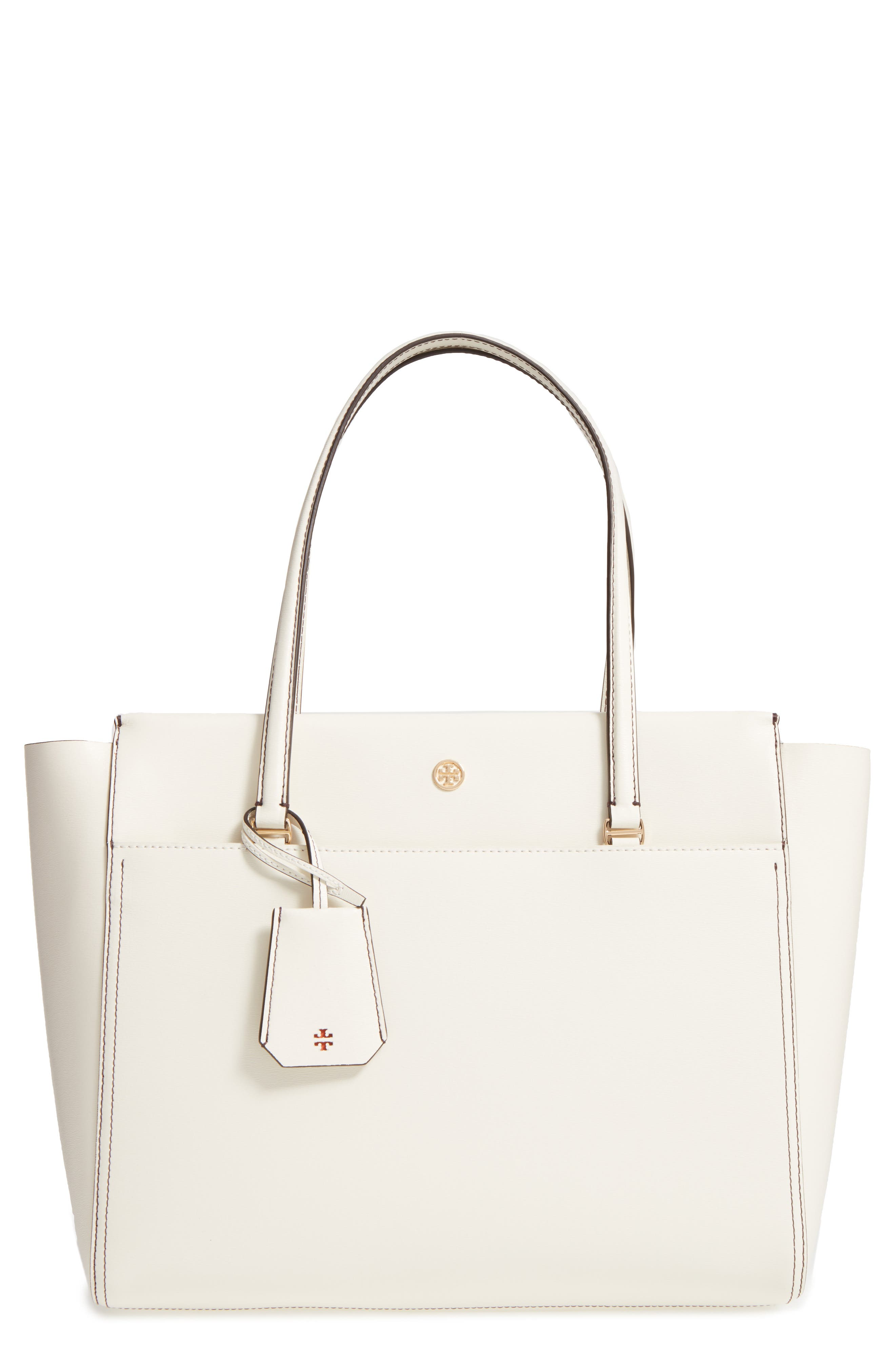 Parker Leather Tote,                         Main,                         color, New Ivory/ Mango