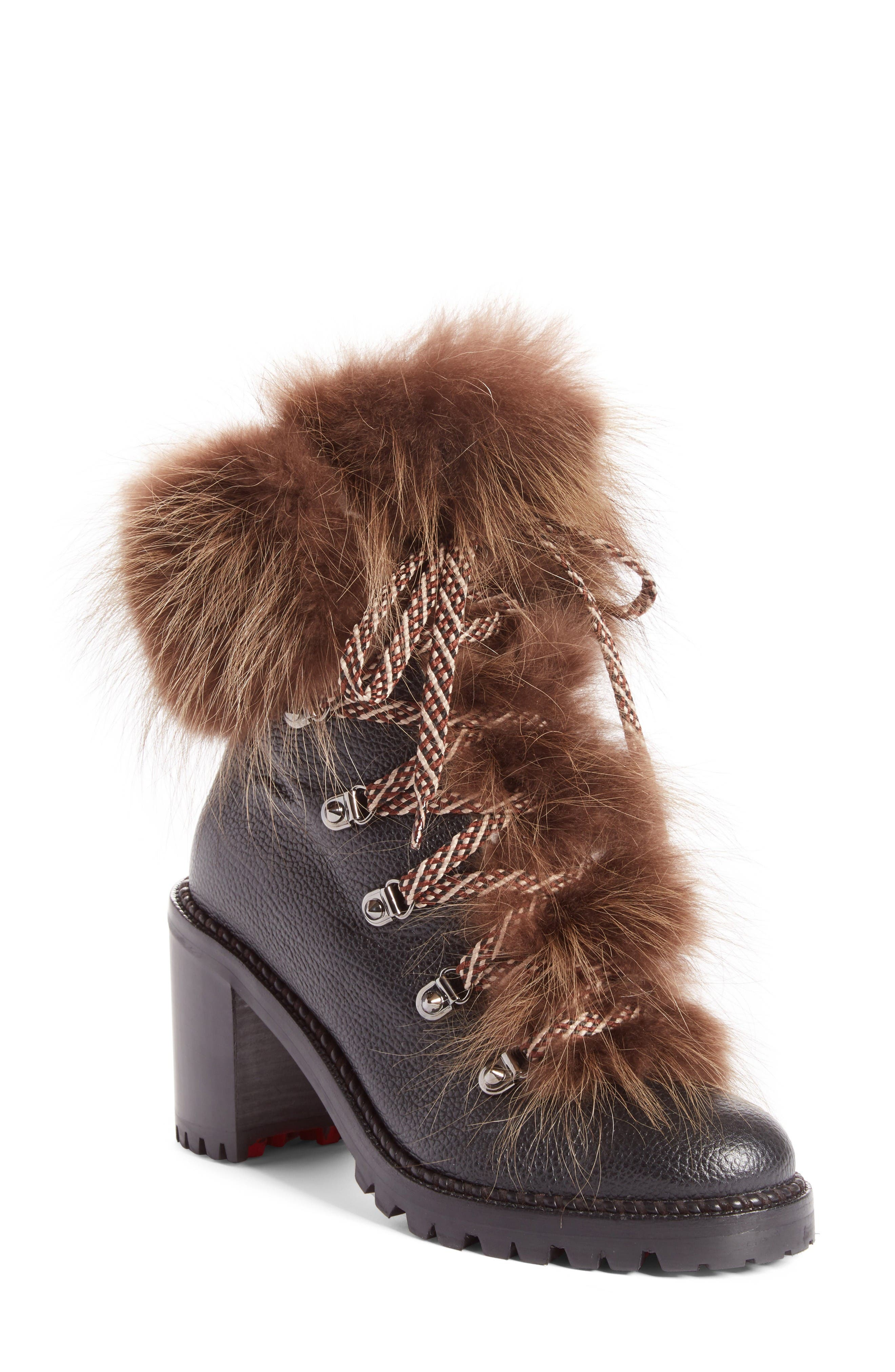 Fanny Genuine Fur Boot,                         Main,                         color, Black Leather