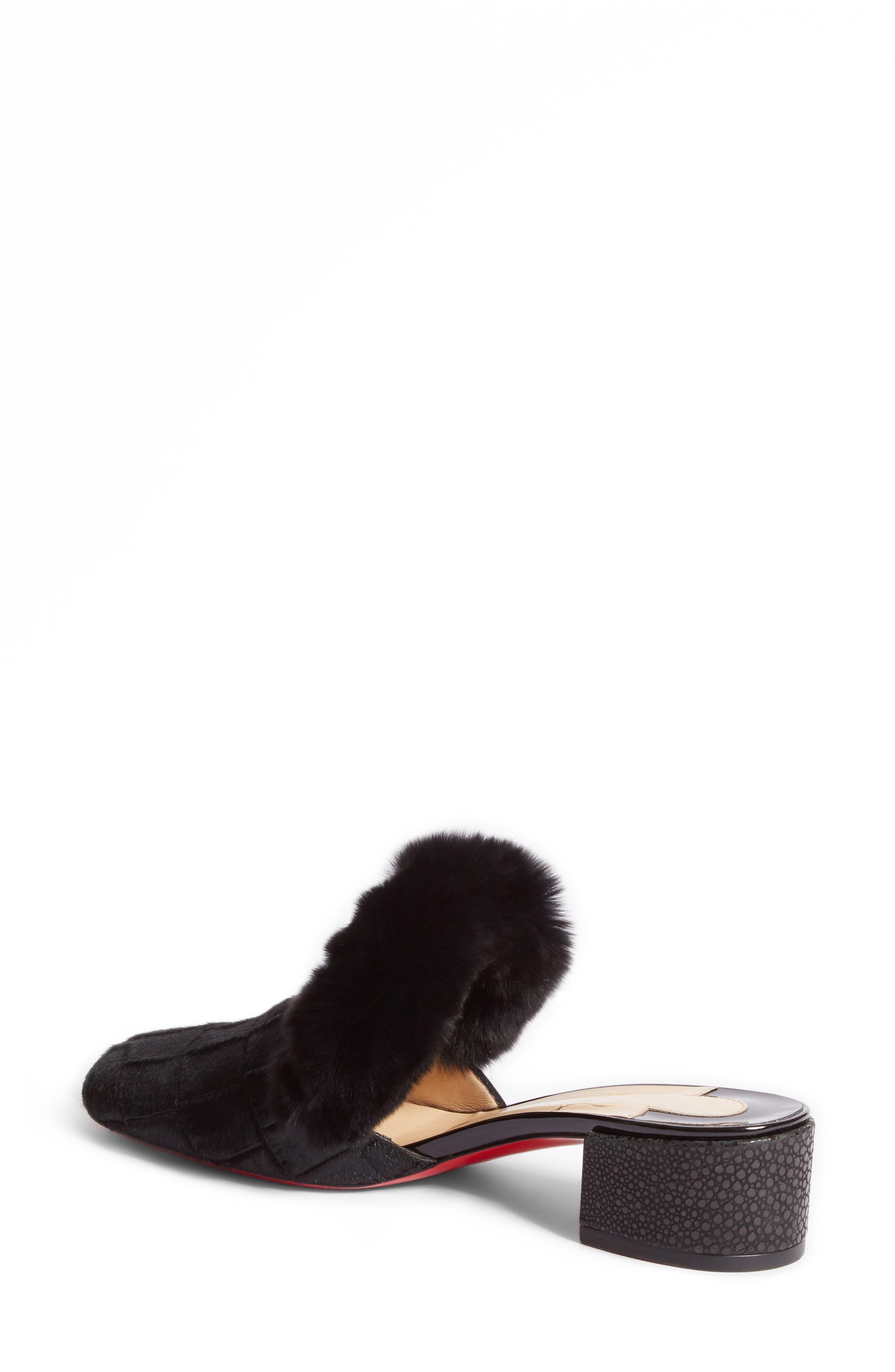 Boudiva Genuine Rabbit Fur Trim Mule,                             Alternate thumbnail 2, color,                             Black
