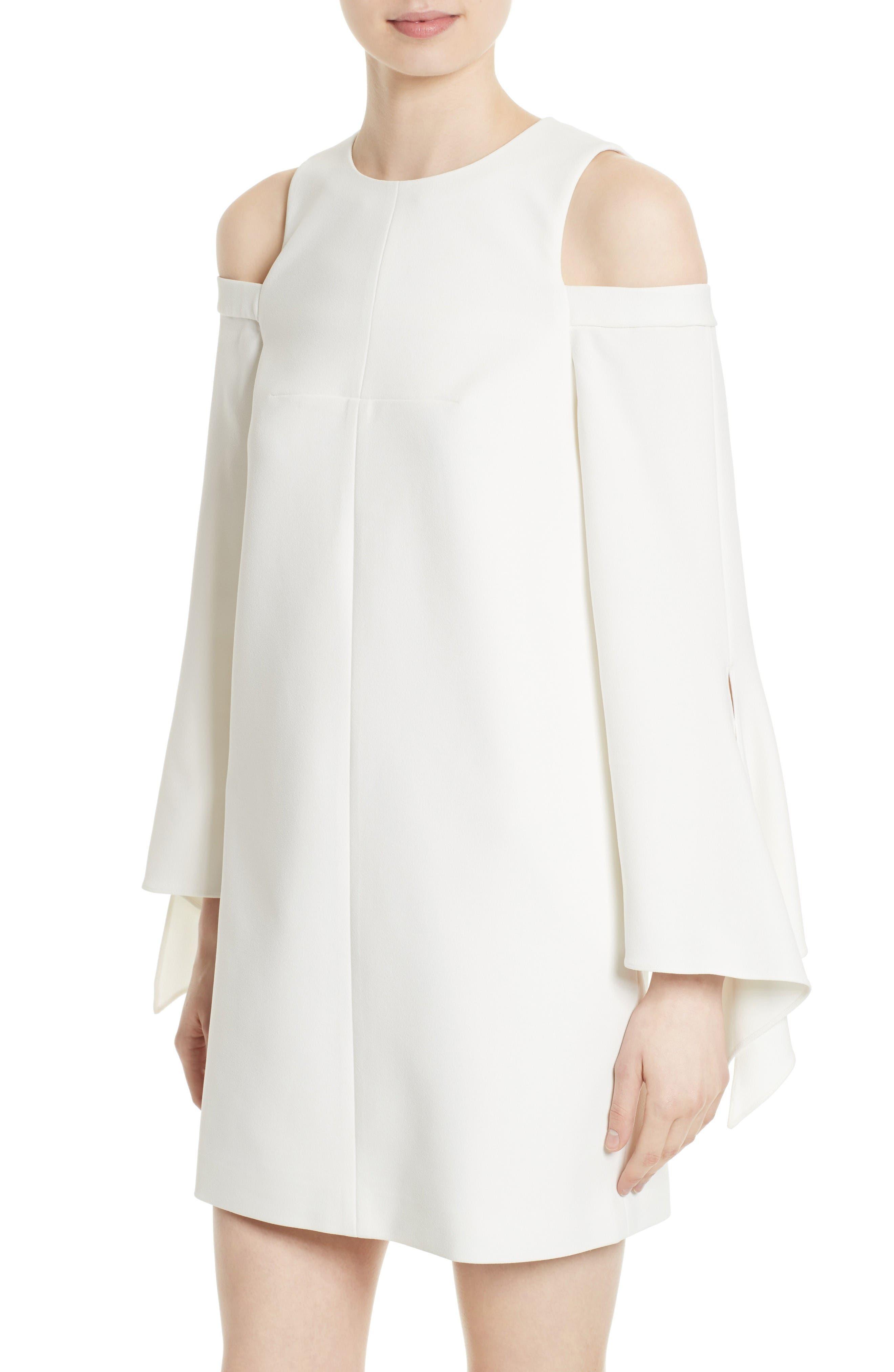 Cold Shoulder Shift Dress,                             Alternate thumbnail 4, color,                             Ivory