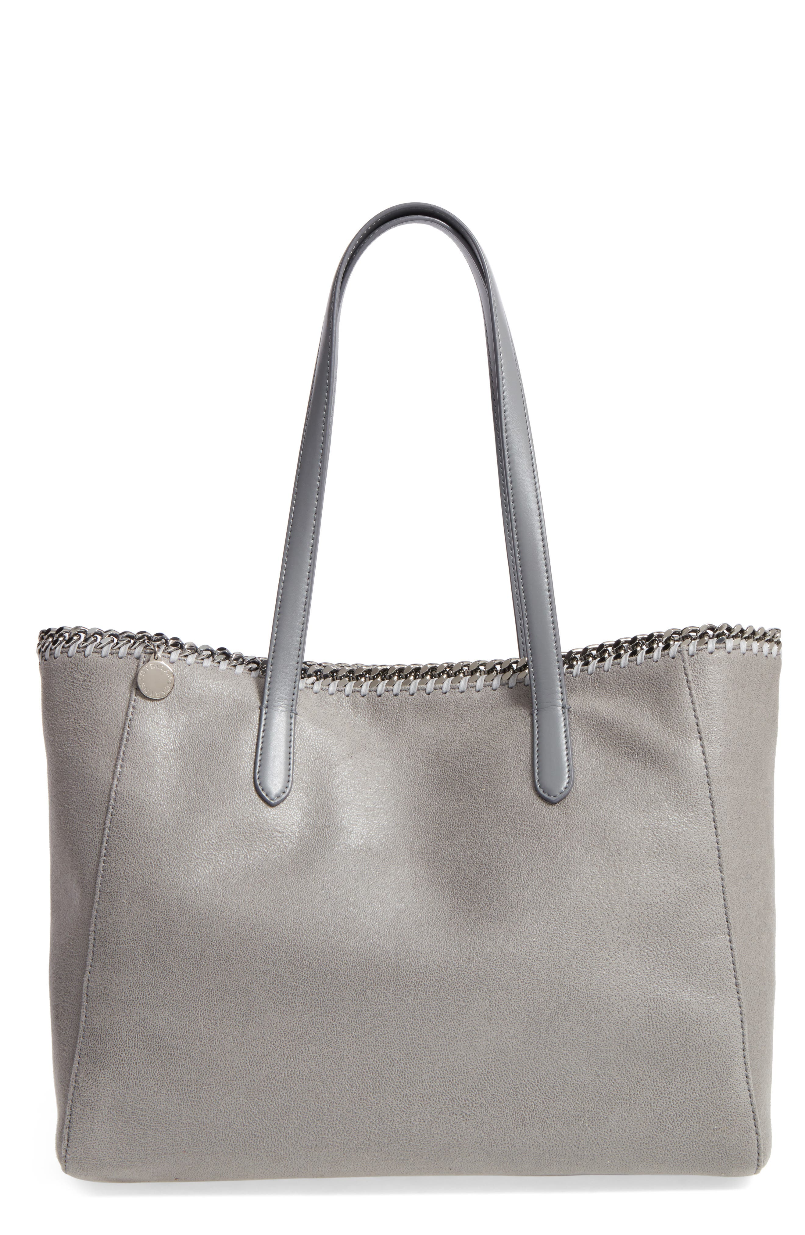 'Falabella - Shaggy Deer' Faux Leather Tote,                             Main thumbnail 1, color,                             Light Grey