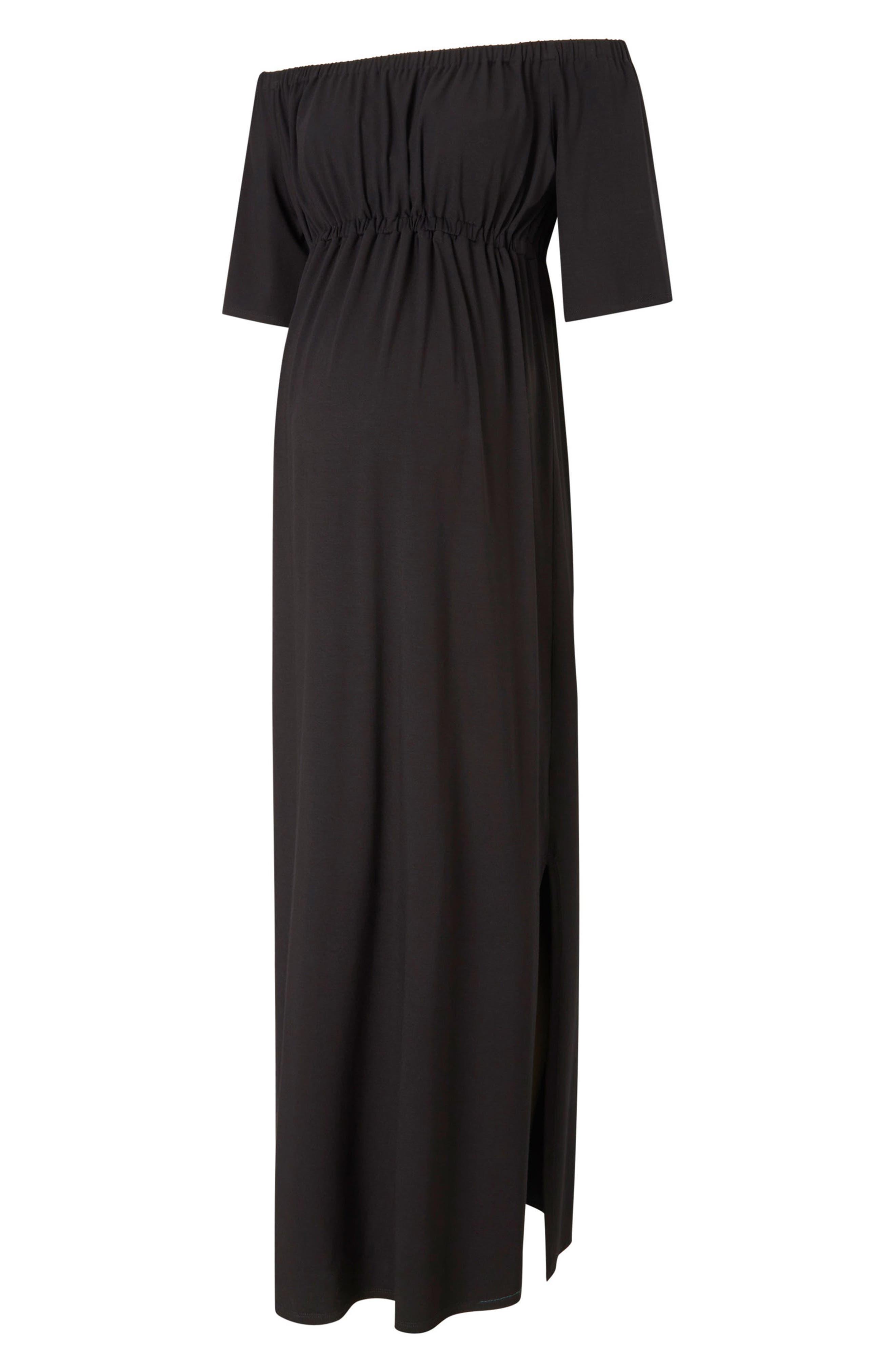 Kari Off the Shoulder Maternity Maxi Dress,                         Main,                         color, Caviar Black