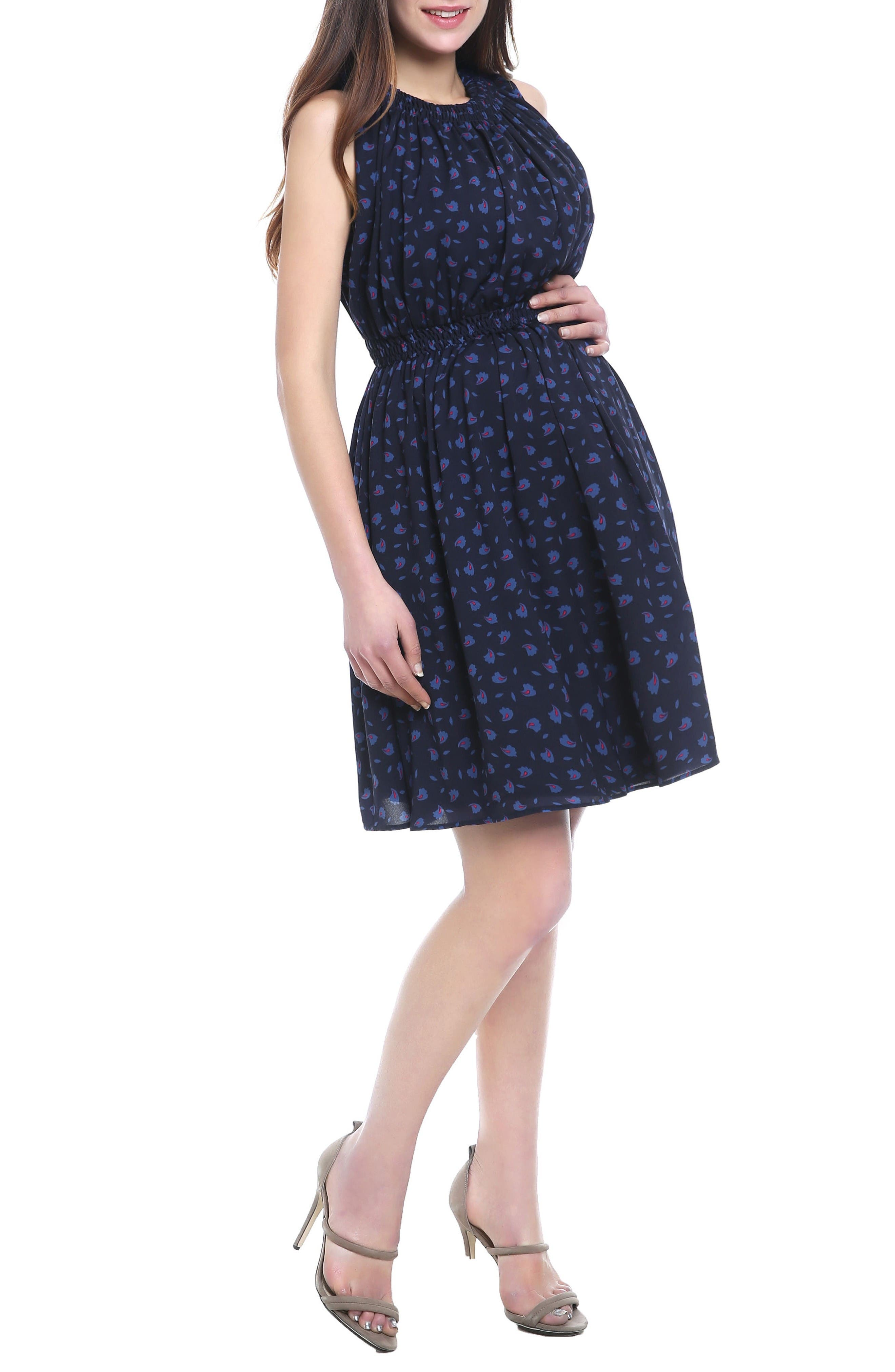 Anjea Maternity/Nursing Dress,                             Alternate thumbnail 3, color,                             Navy