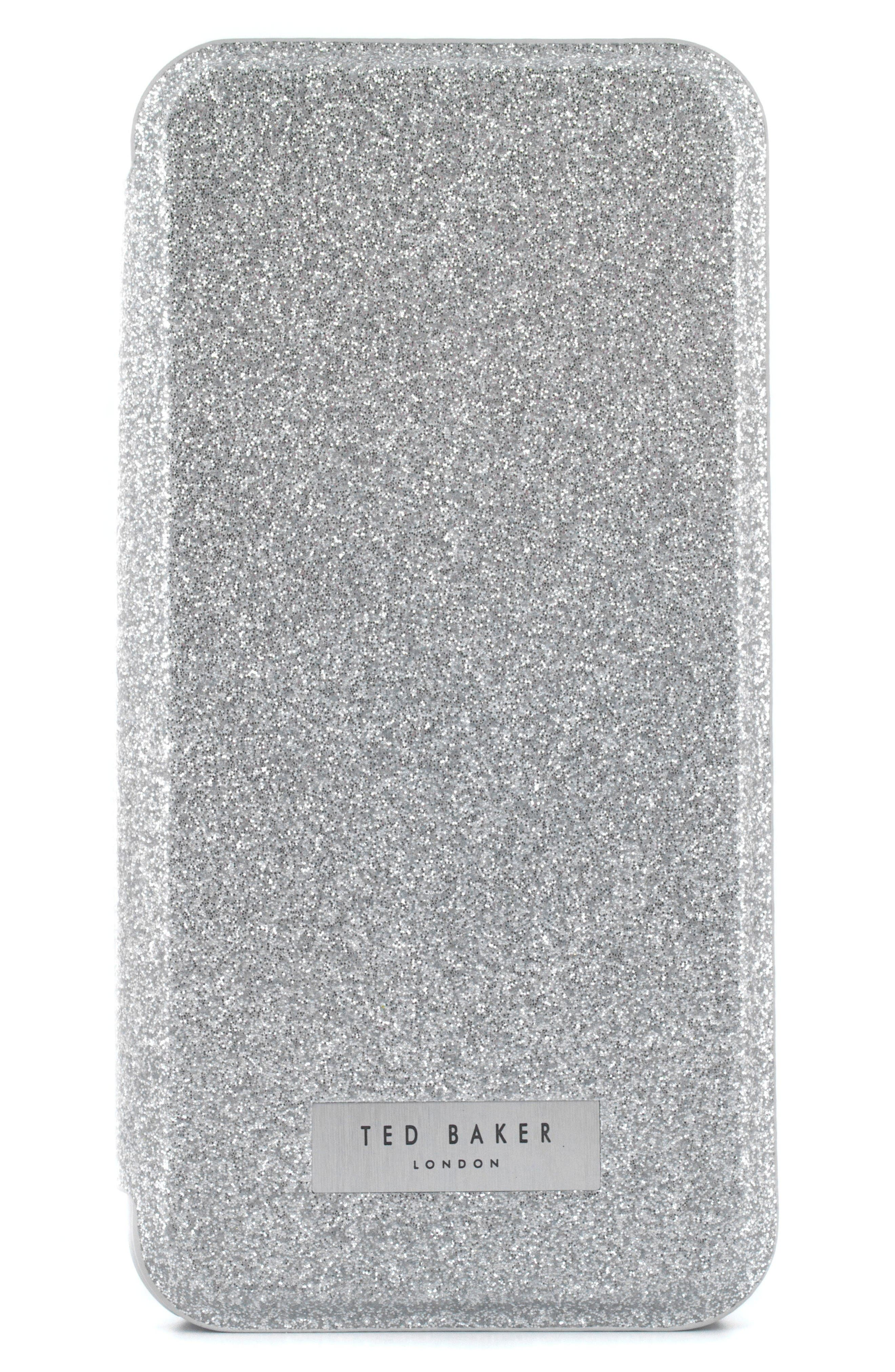 Glitsie iPhone 6/6s/7/8 Mirror Folio Case,                             Alternate thumbnail 4, color,                             Silver