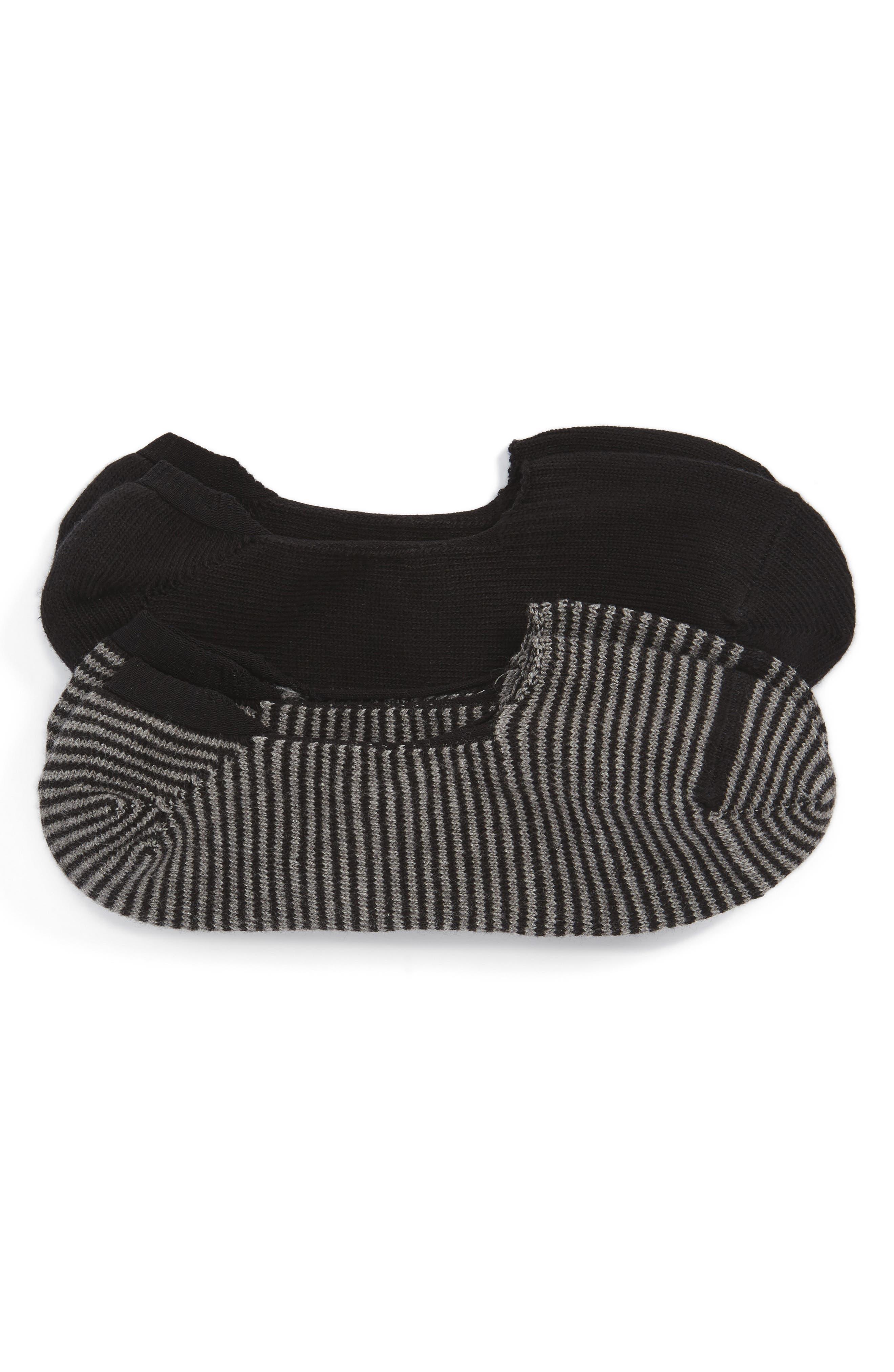 2-Pack Loafer Liner Socks,                             Main thumbnail 1, color,                             Black/ Black- Grey