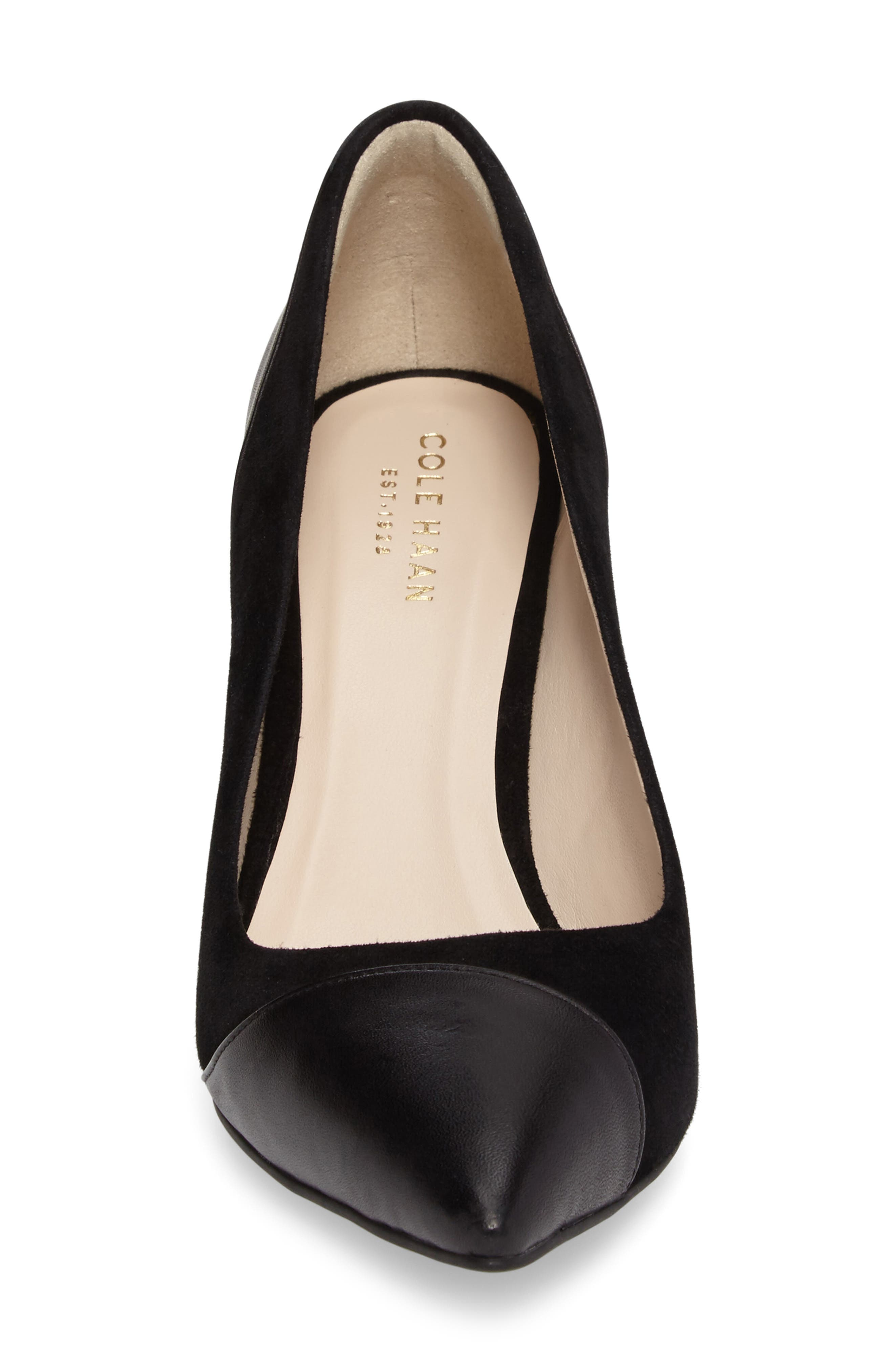 Shayla Pointy Toe Pump,                             Alternate thumbnail 4, color,                             Black Suede