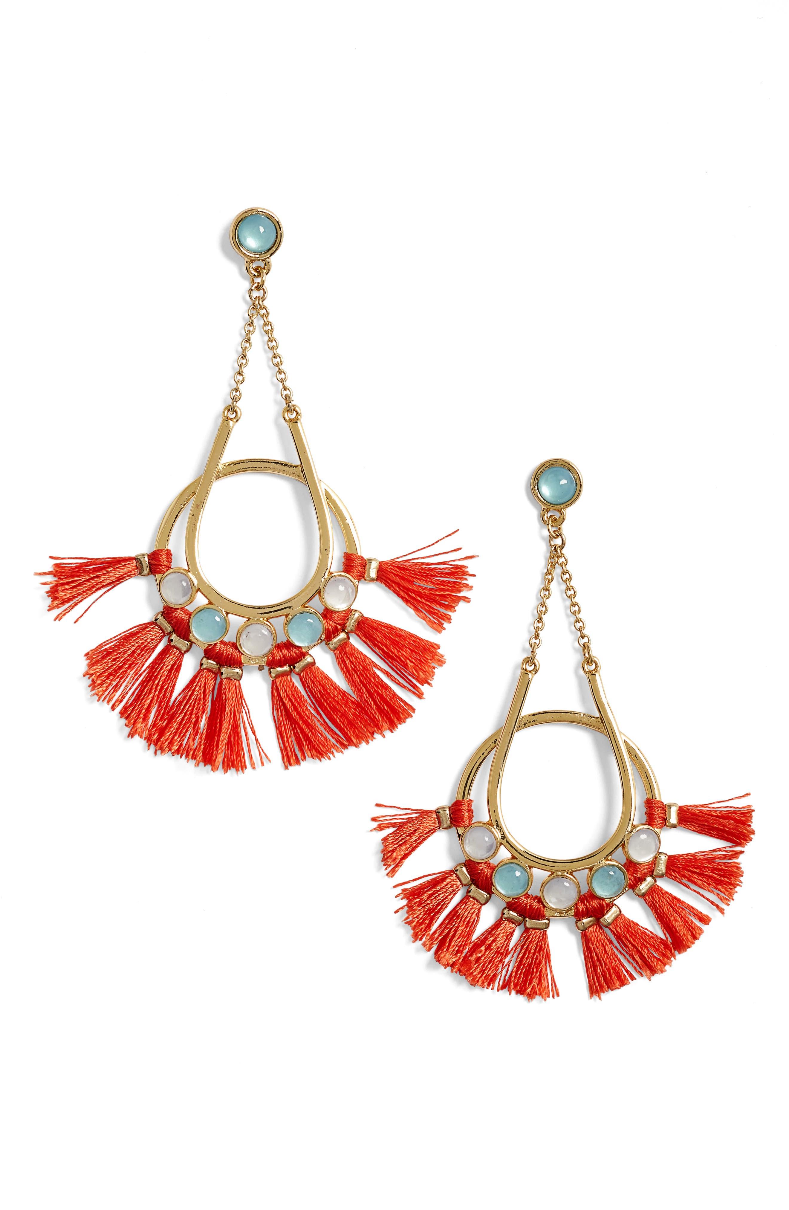 Utopia Tassel Chandelier Earrings,                         Main,                         color, Turquoise / Red