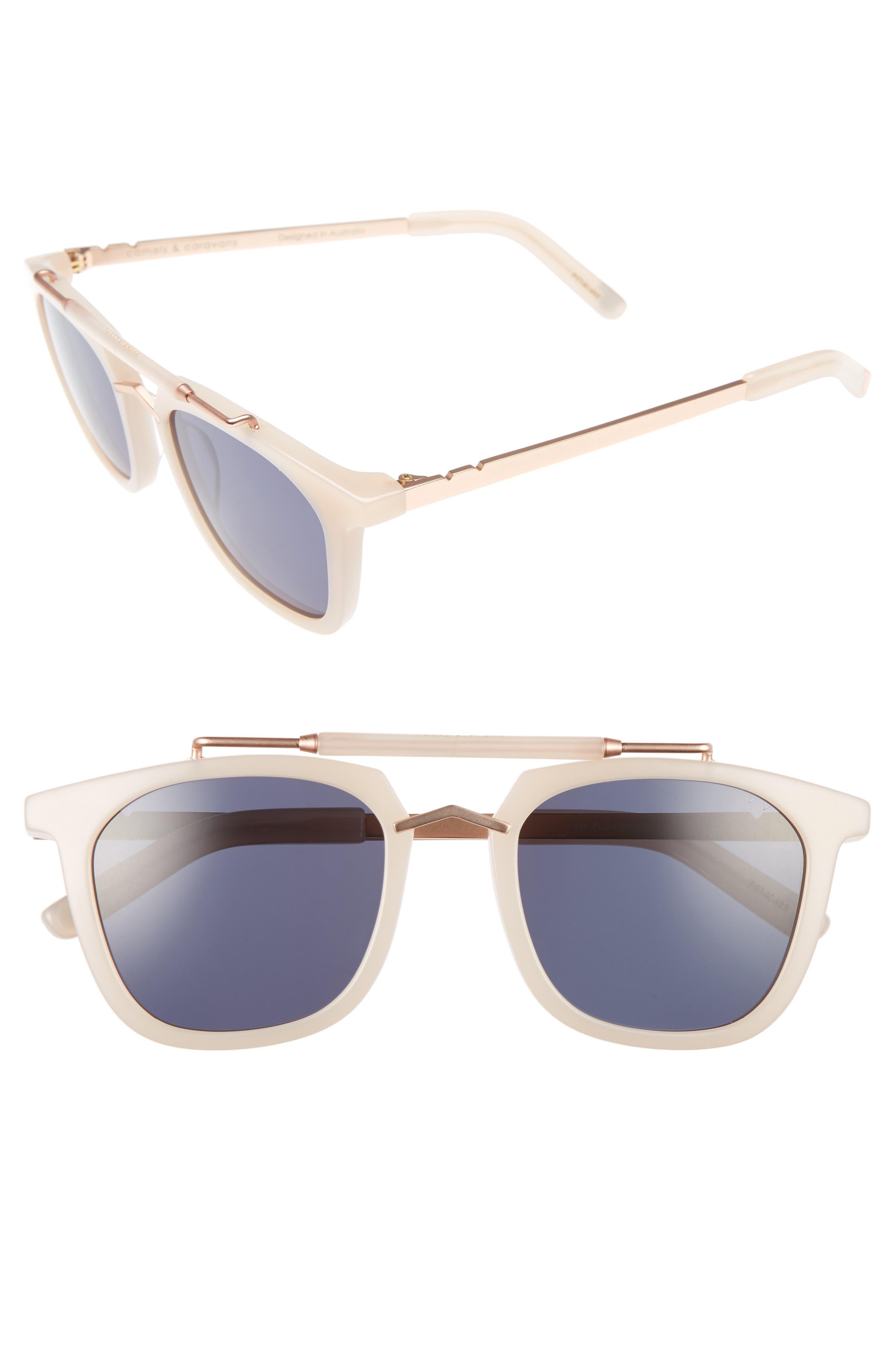 Camels & Caravans 50mm Retro Sunglasses,                             Main thumbnail 1, color,                             Blush/ Rose Gold Grey