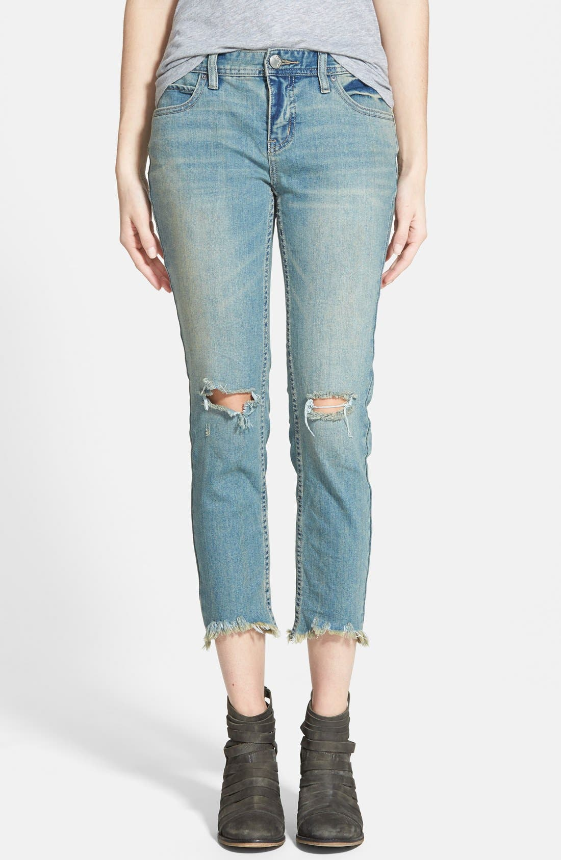 Alternate Image 1 Selected - Free People Destroyed Skinny Jeans (Sitka)