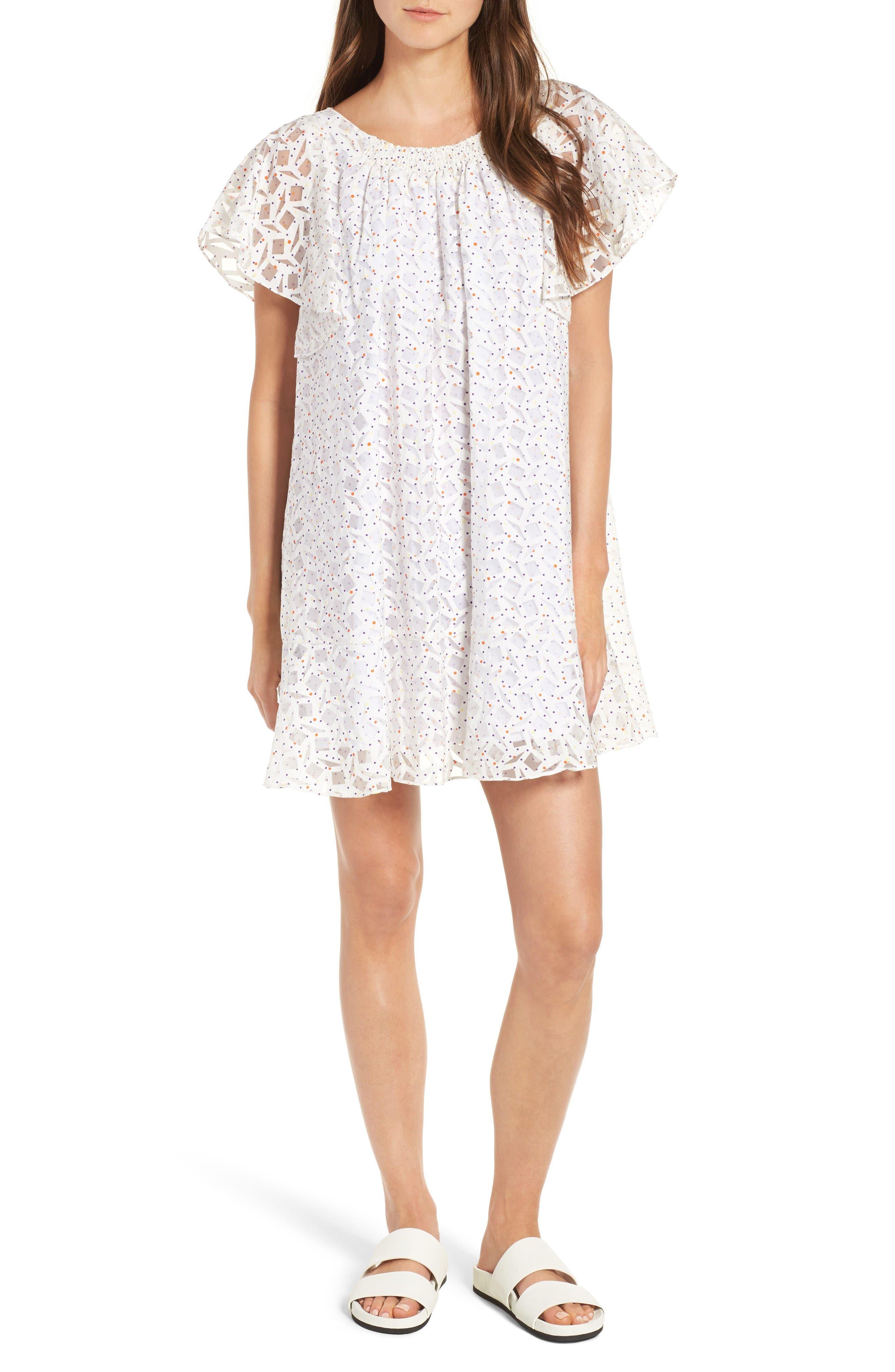 Galatee Trapeze Dress,                         Main,                         color, Blanc