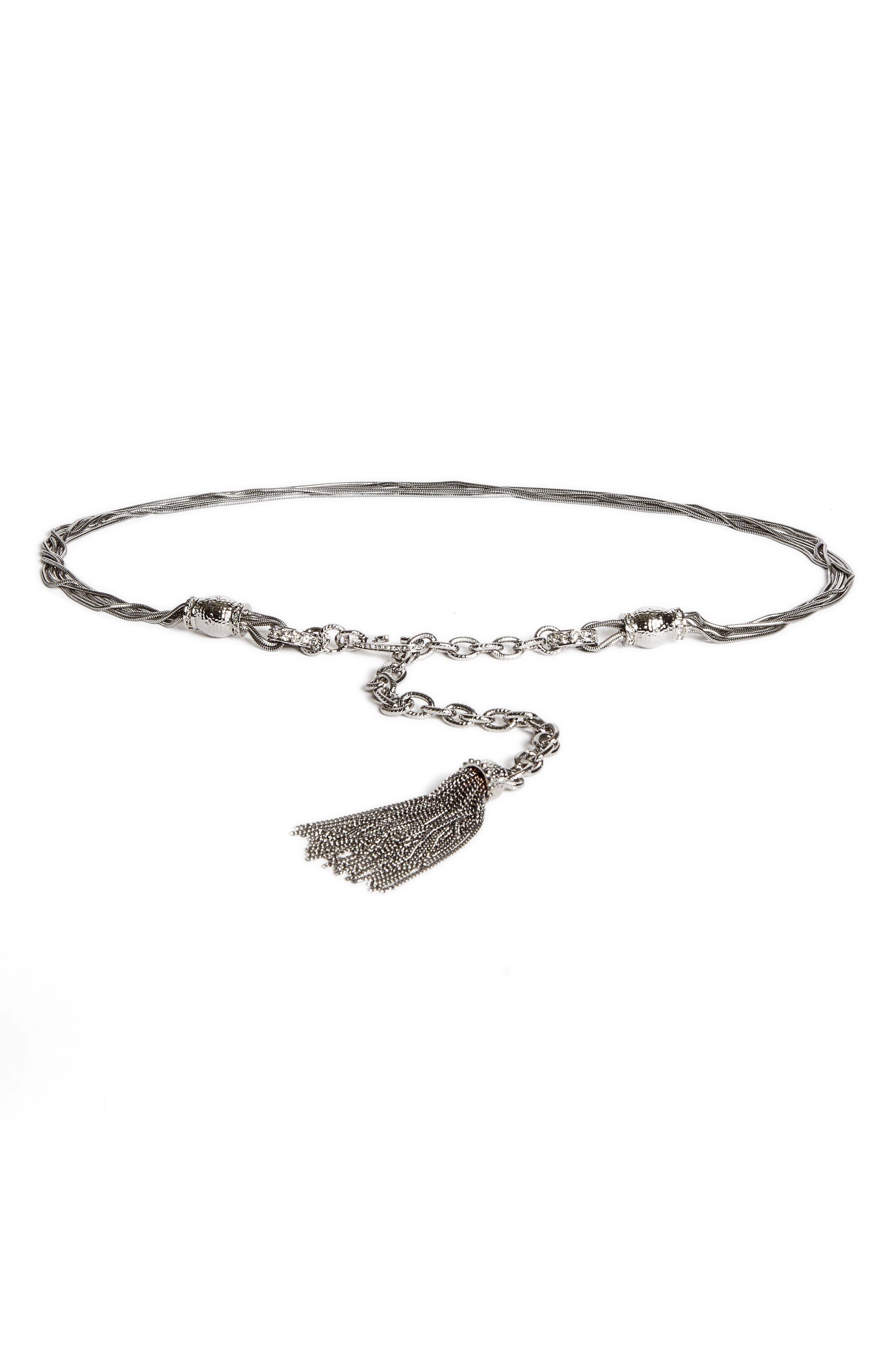 St. John Collection Hamm Swarovski Crystal Chain Tassel Belt