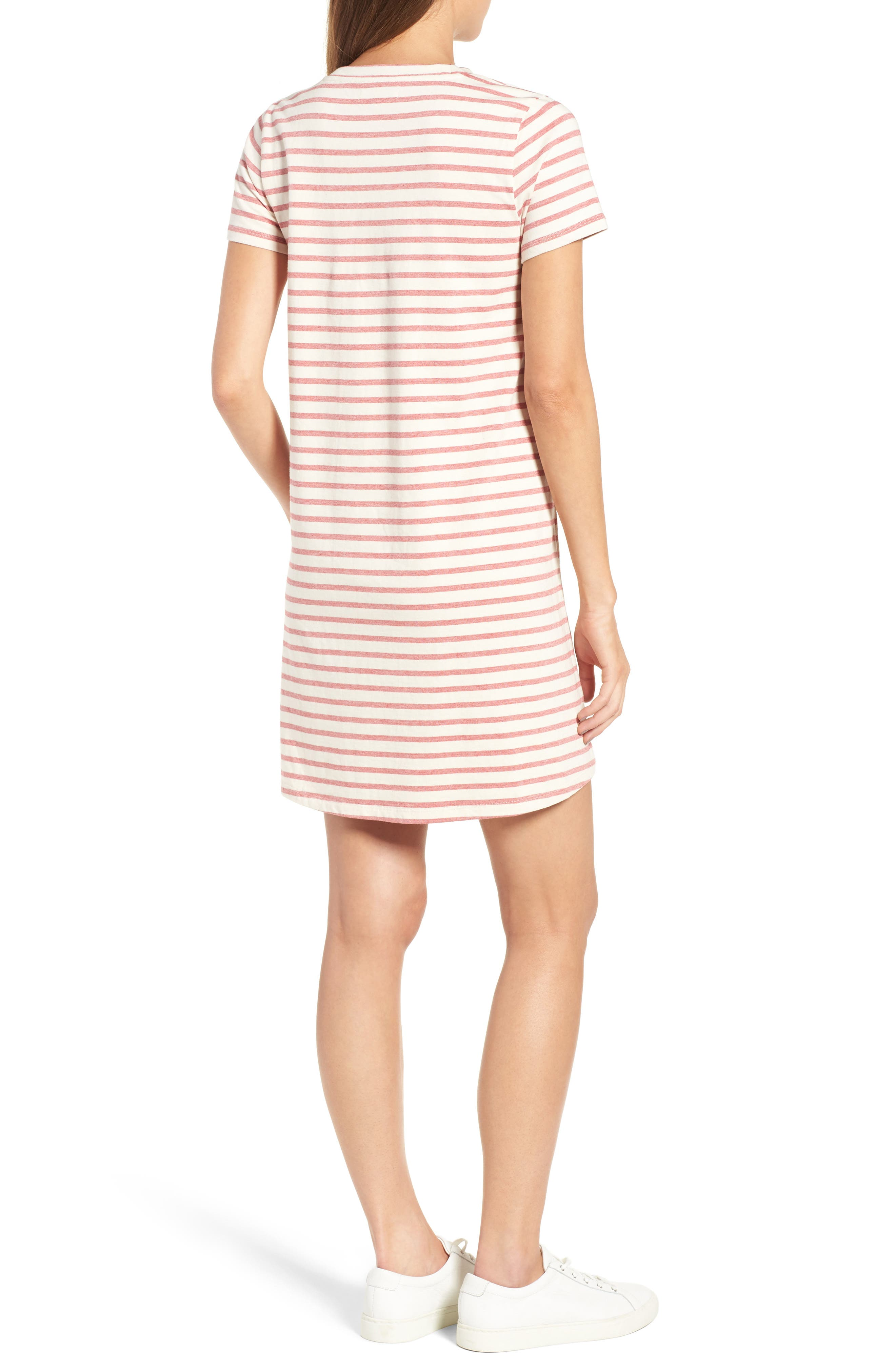 Retreat Stripe Cotton Shift Dress,                             Alternate thumbnail 2, color,                             Flame Red